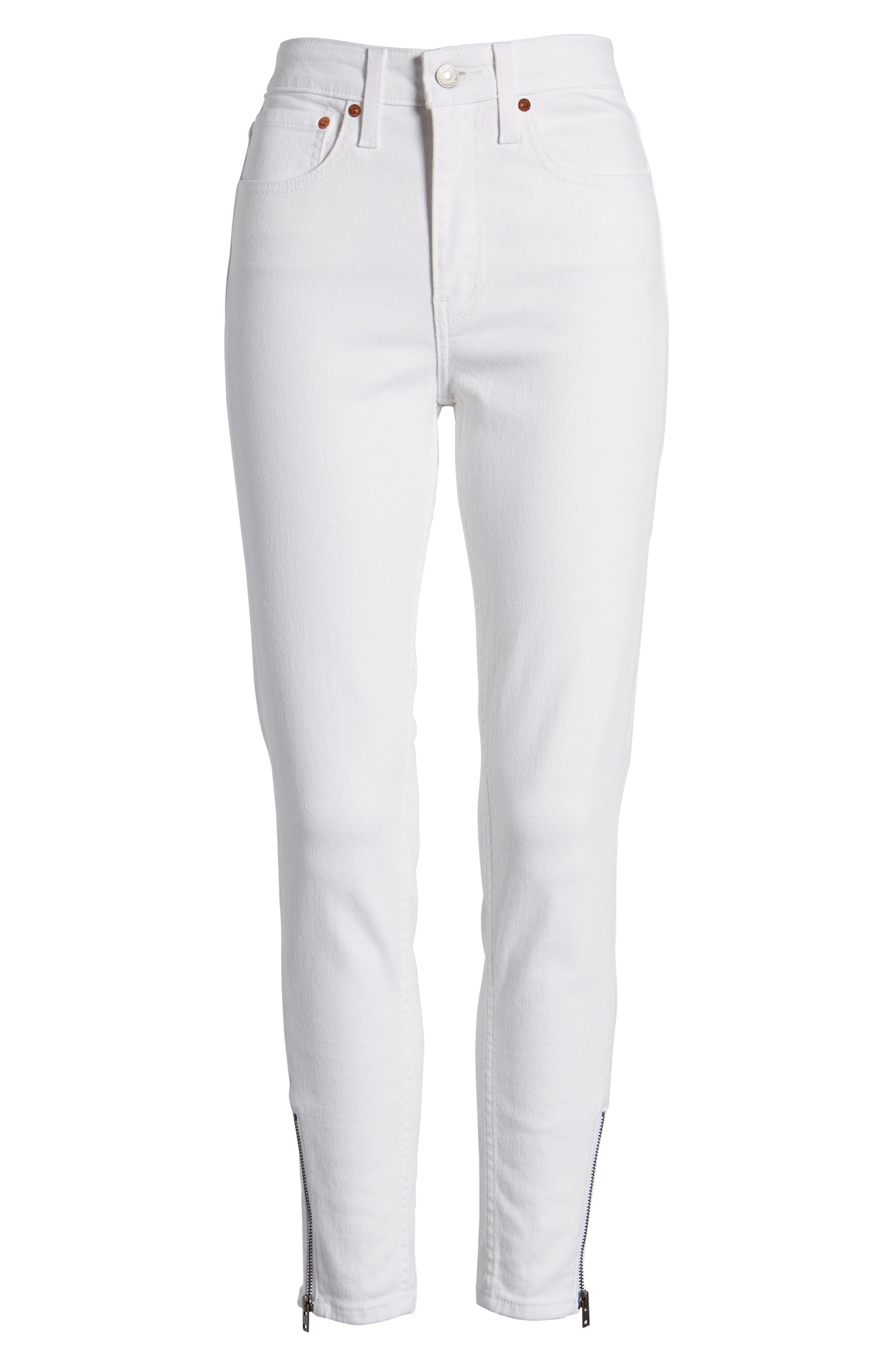 721<sup>™</sup> Altered High Rise Ankle Skinny Jeans,                             Alternate thumbnail 7, color,                             Seeing White