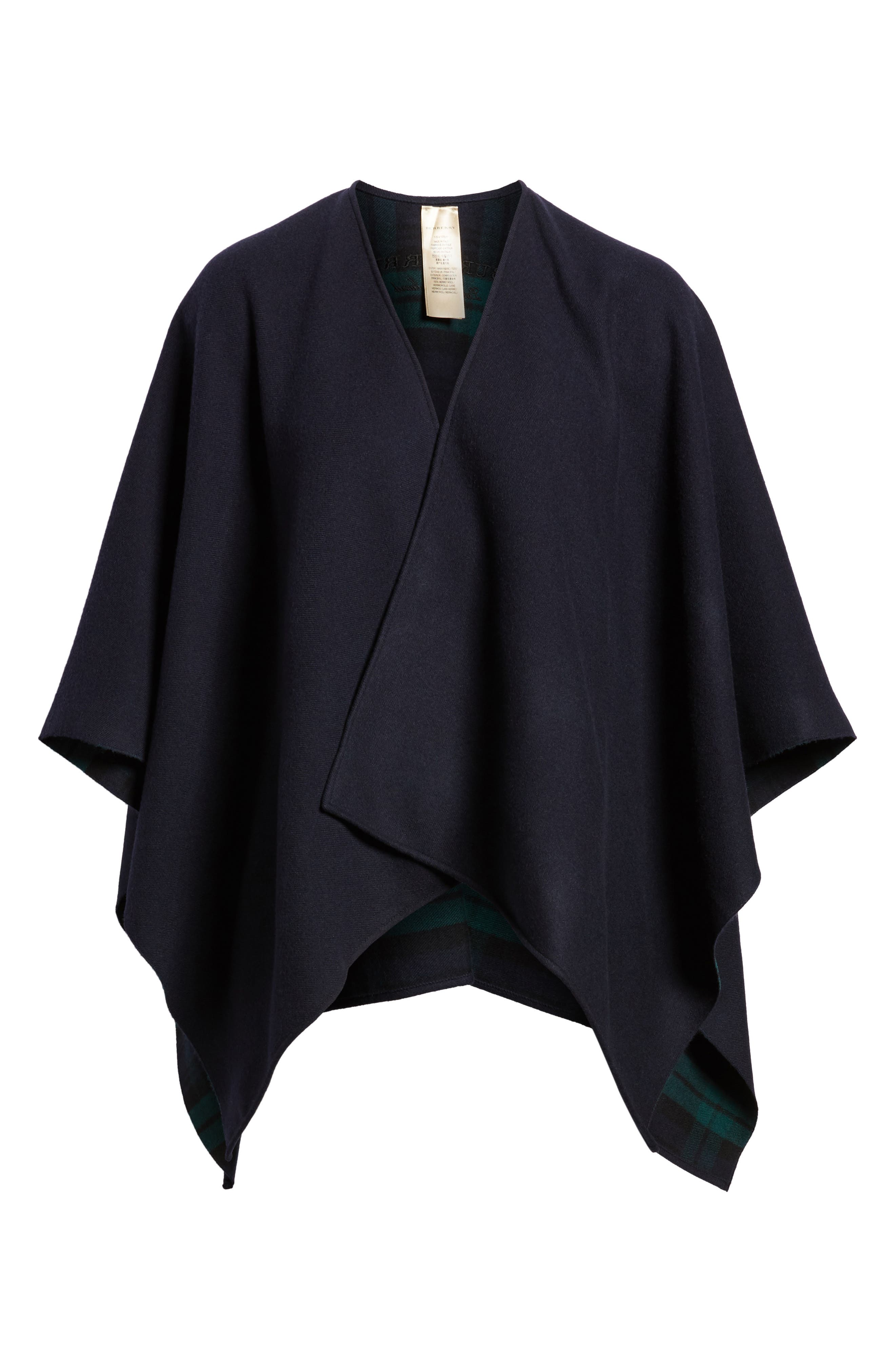 Crop Reversible Merino Wool Cape,                             Alternate thumbnail 6, color,                             Navy