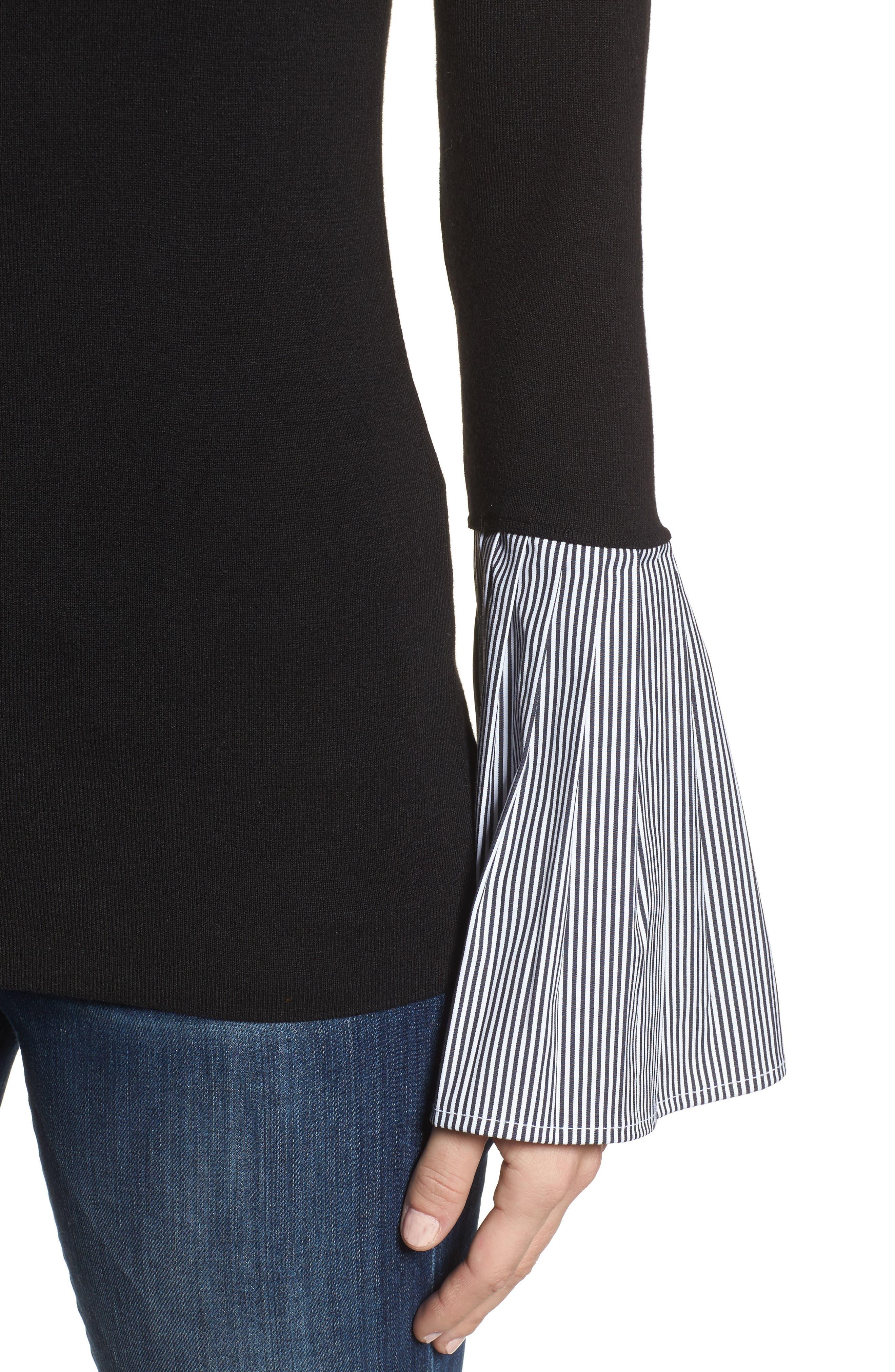 Poplin Bell Cuff Sweater,                             Alternate thumbnail 4, color,                             Black