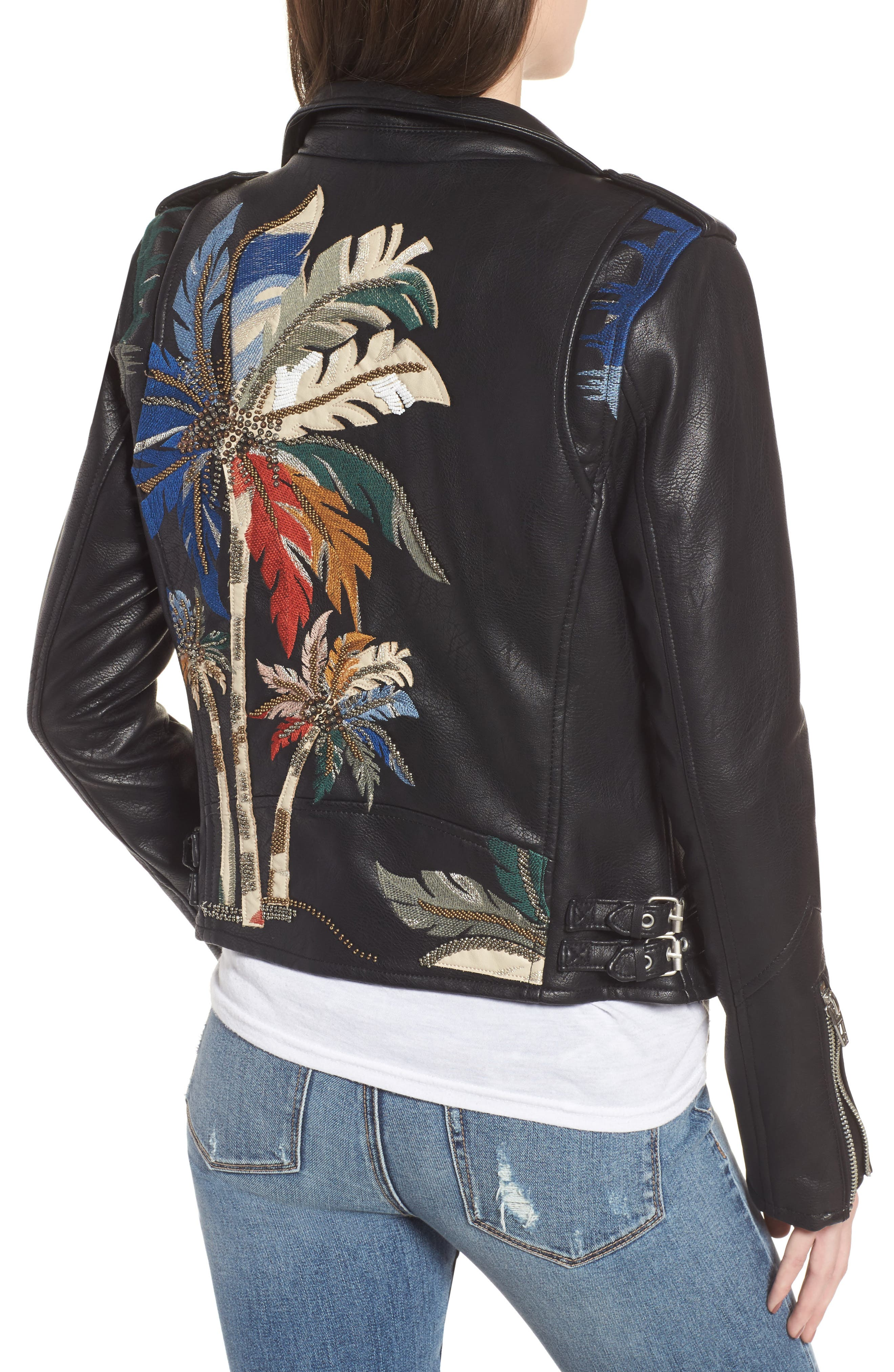 Embroidered Faux Leather Moto Jacket,                             Alternate thumbnail 2, color,                             Black