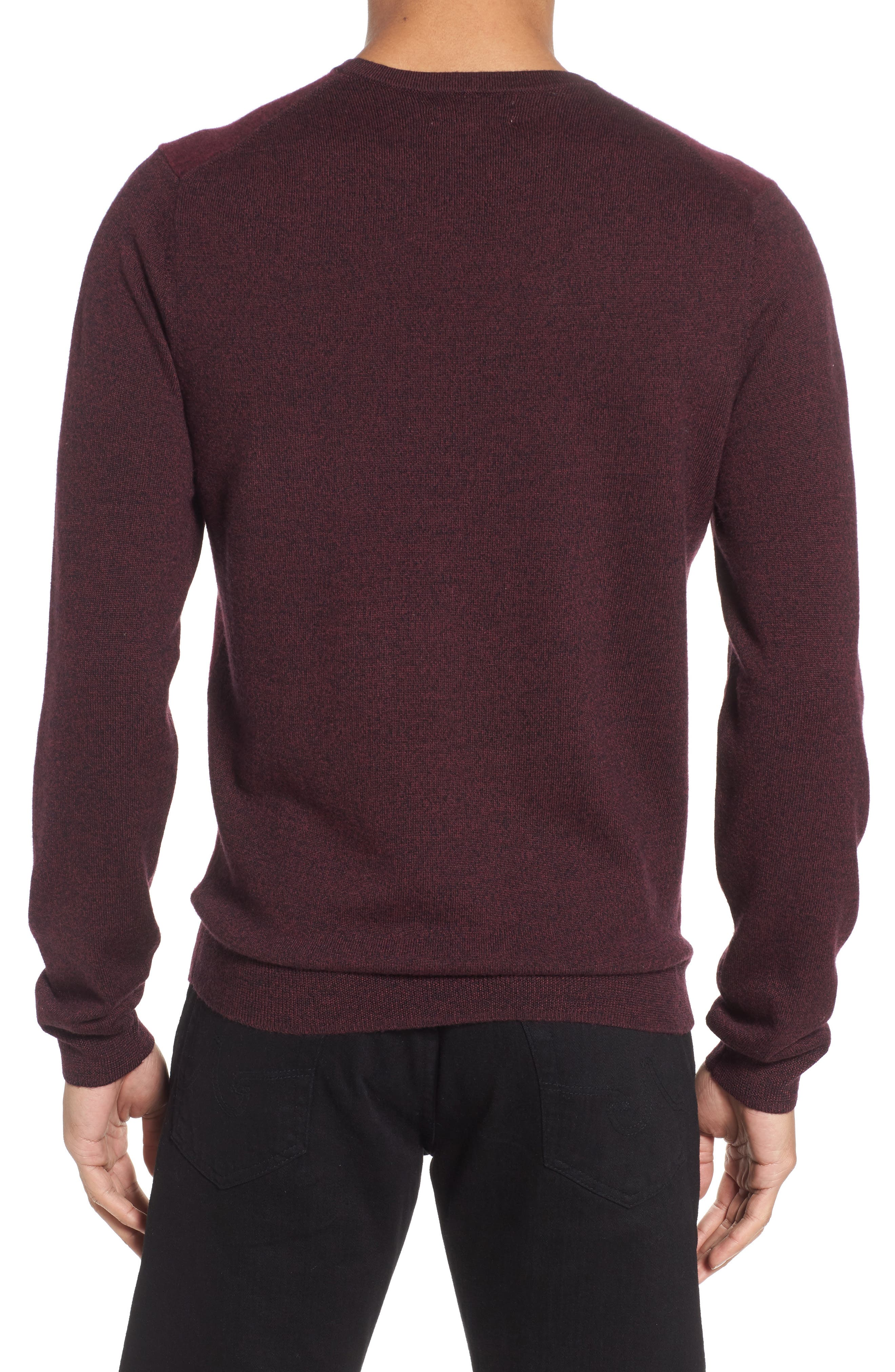 Boiled Wool Blend Crewneck Sweater,                             Alternate thumbnail 2, color,                             Burgundy Stem