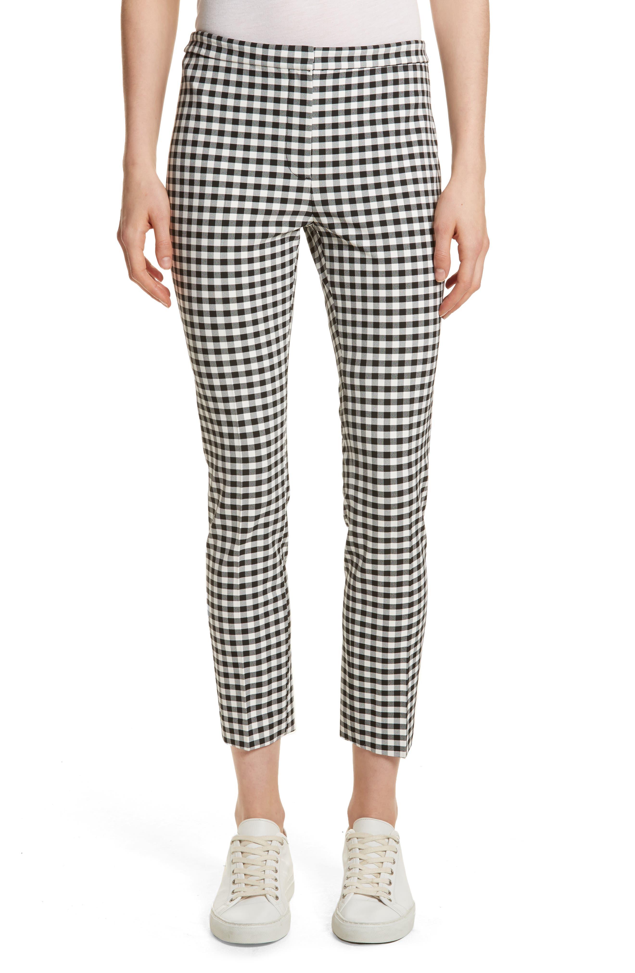 Gingham Classic Skinny Pants,                             Main thumbnail 1, color,                             Black/ White