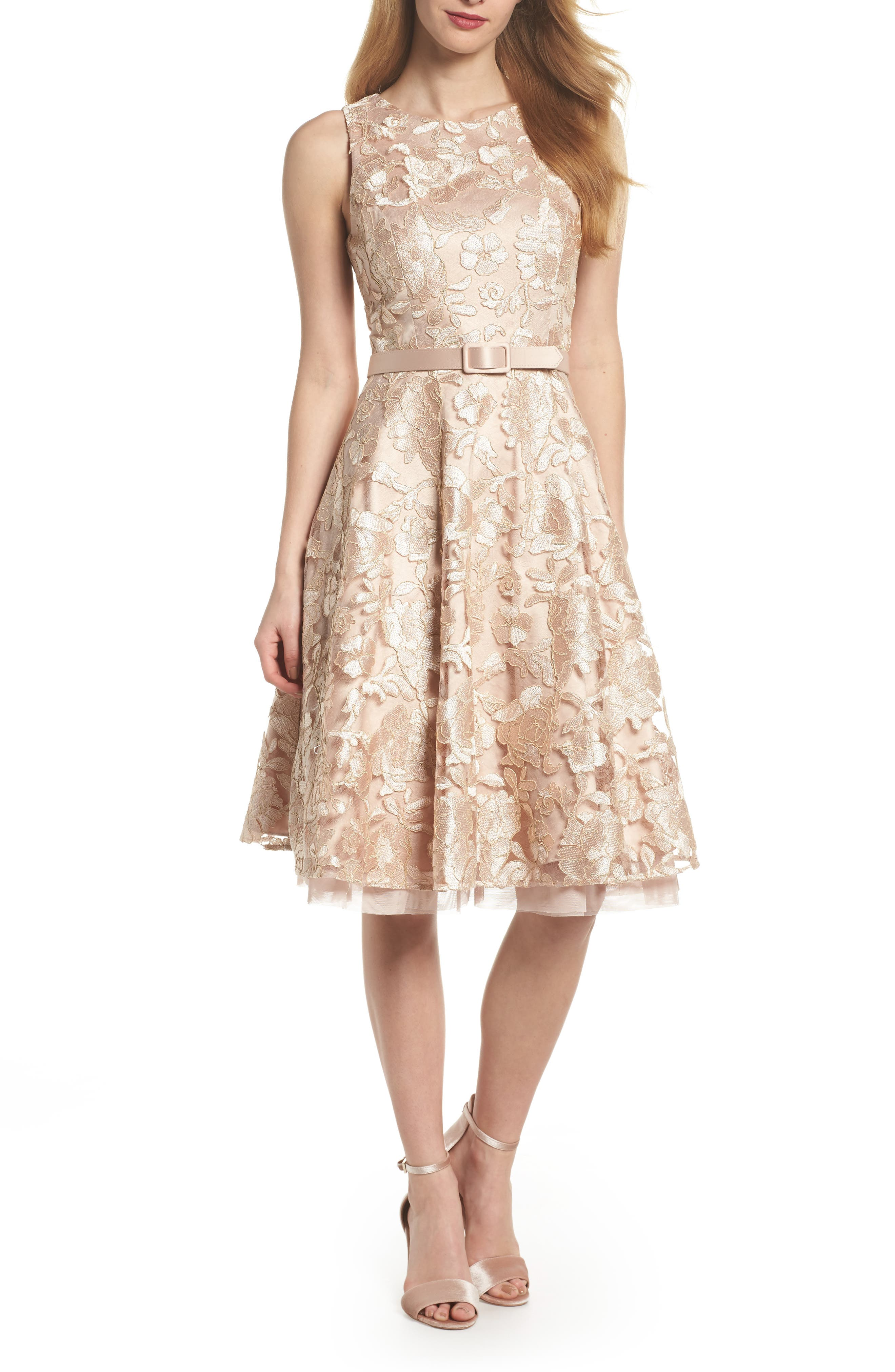 Belted Lace Fit & Flare Dress,                         Main,                         color, Gold
