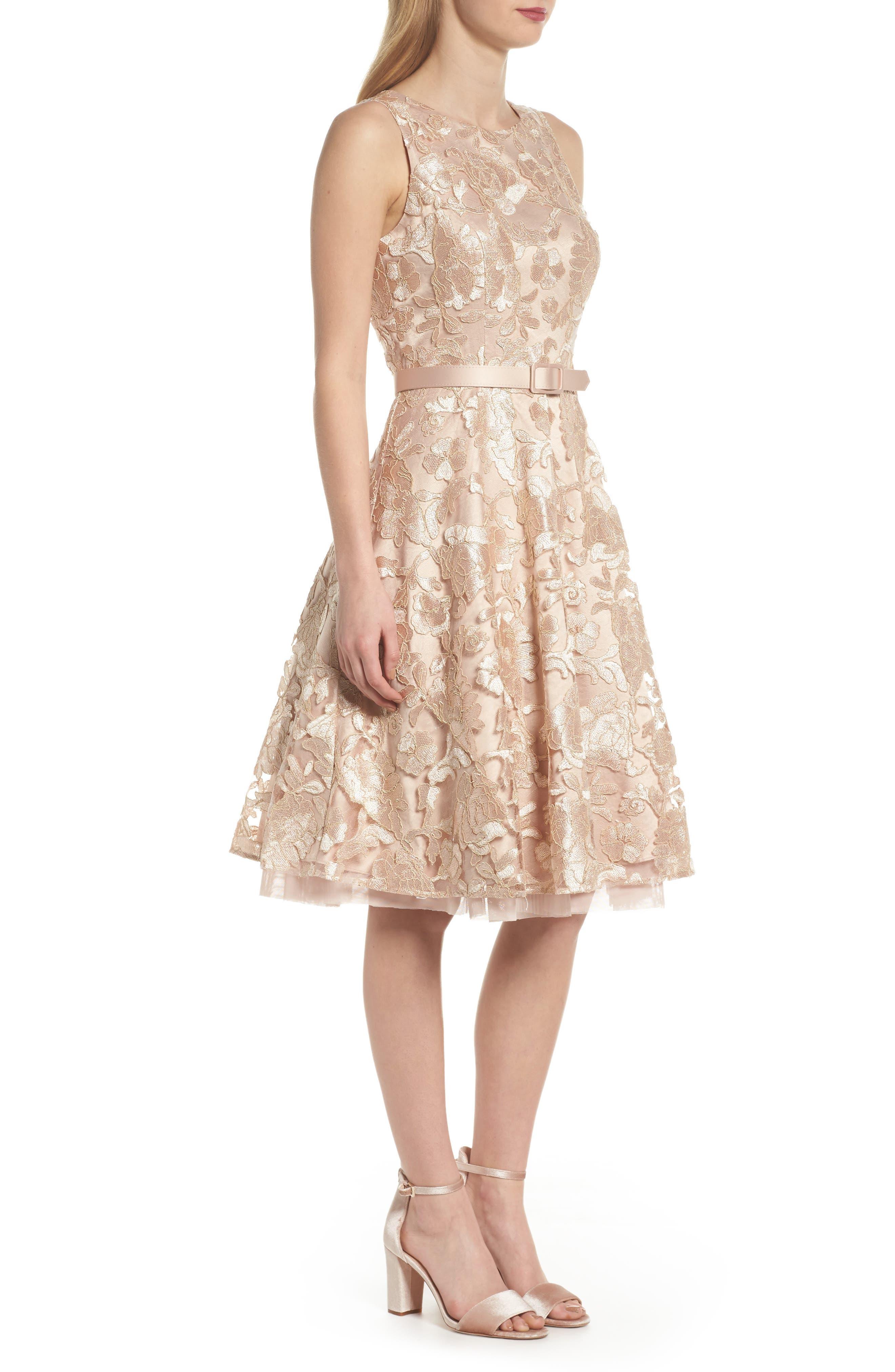 Alternate Image 3  - Eliza J Belted Lace Fit & Flare Dress