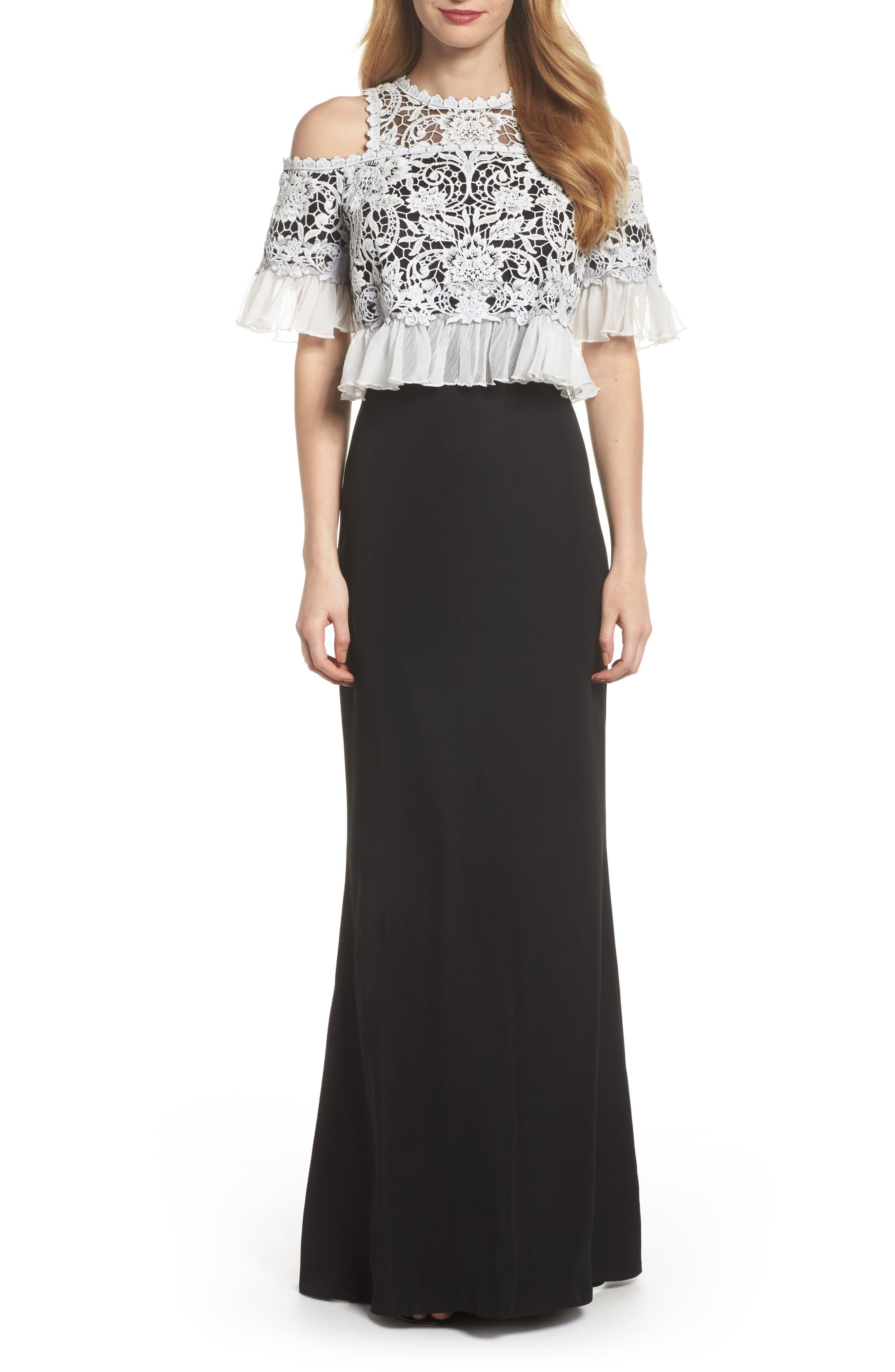 Crochet Bodice Gown,                             Main thumbnail 1, color,                             Black/ Ivory