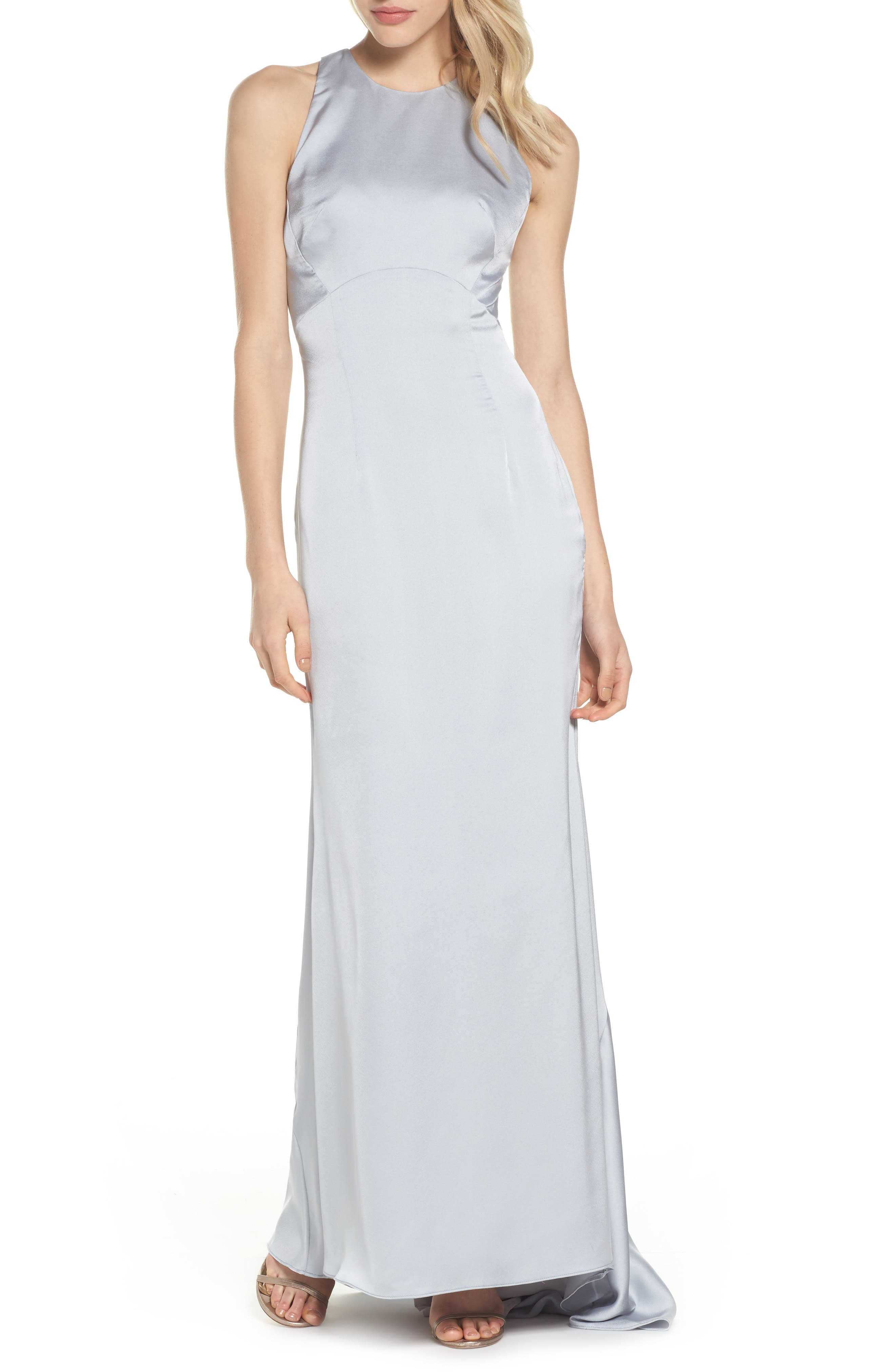 Amara Cross Back Satin Gown,                         Main,                         color, Silver