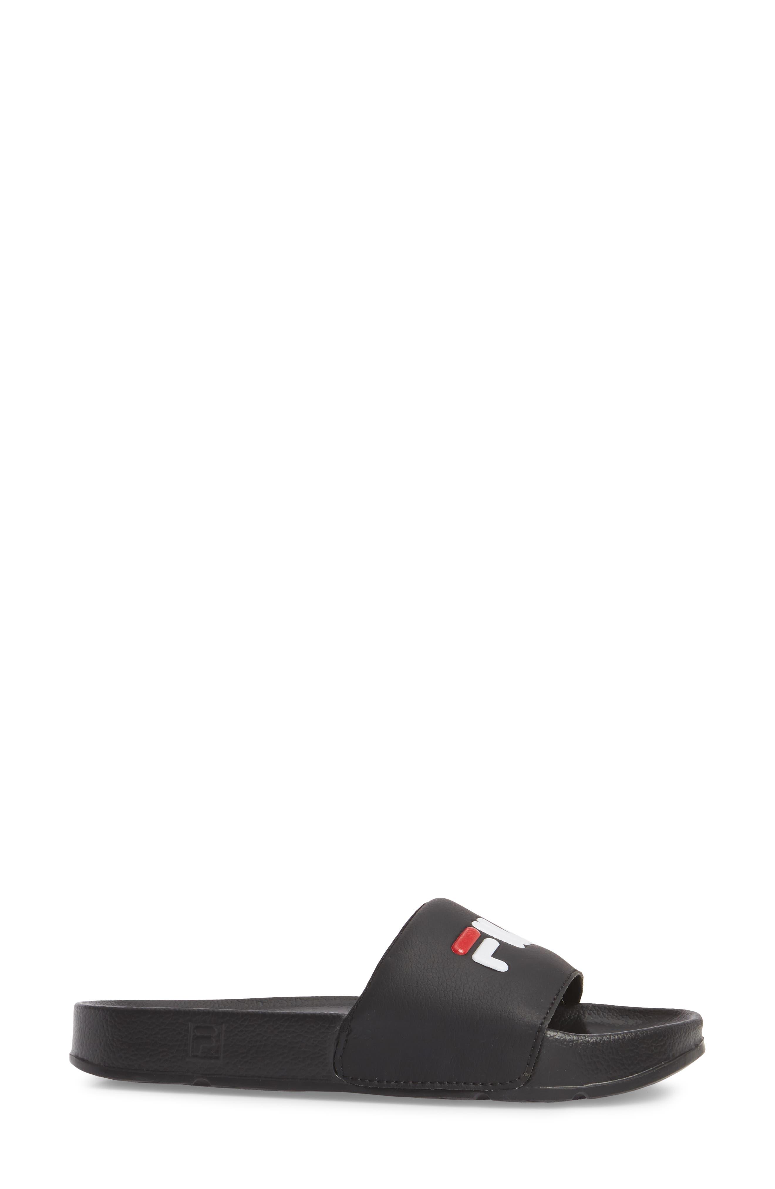 Drifter Slide Sandal,                             Alternate thumbnail 3, color,                             Black/ Red/ White