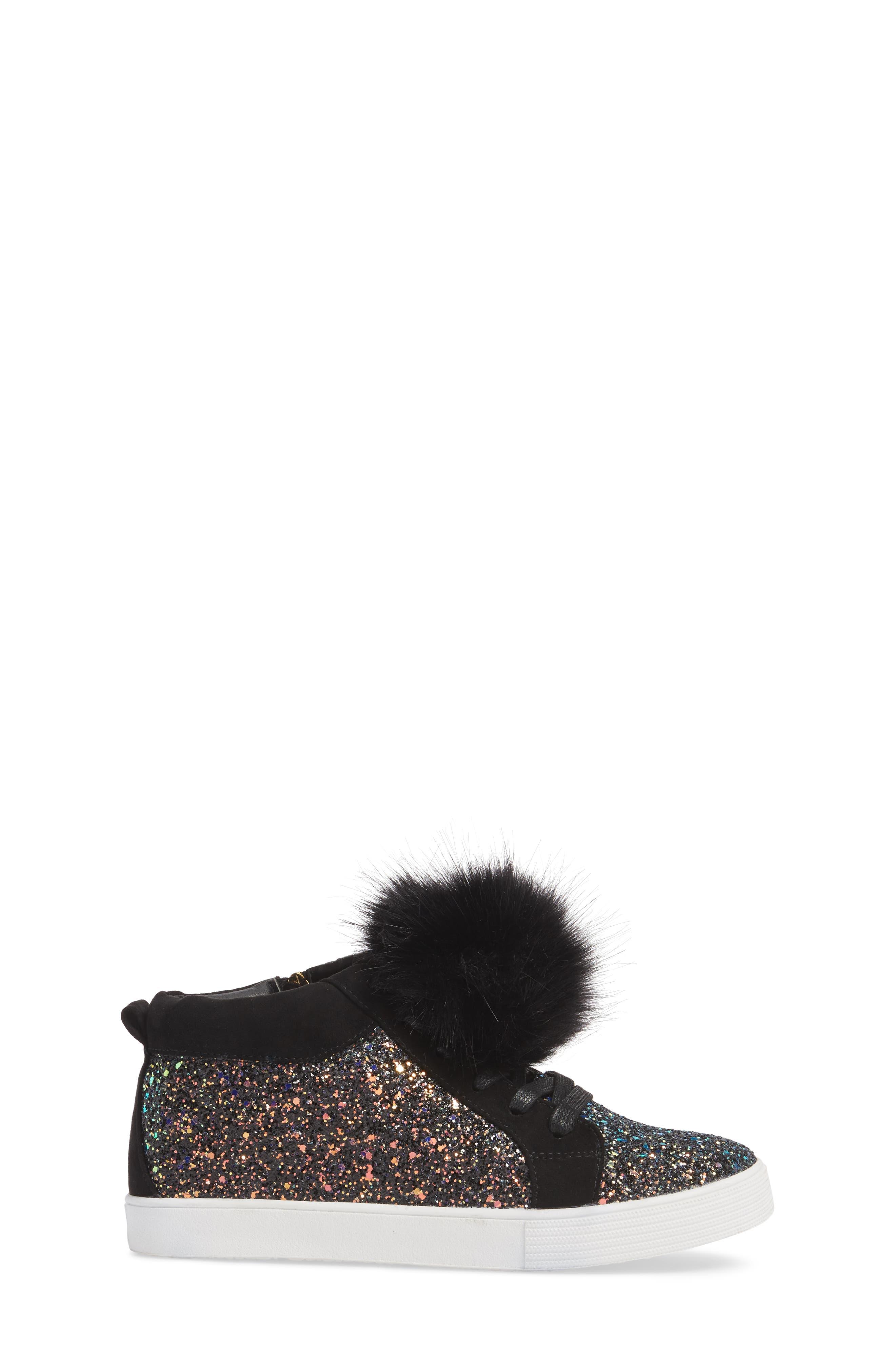 Bella Hira Faux Fur Glitter Pom Sneaker,                             Alternate thumbnail 3, color,                             Black Multi Chunky Glitter