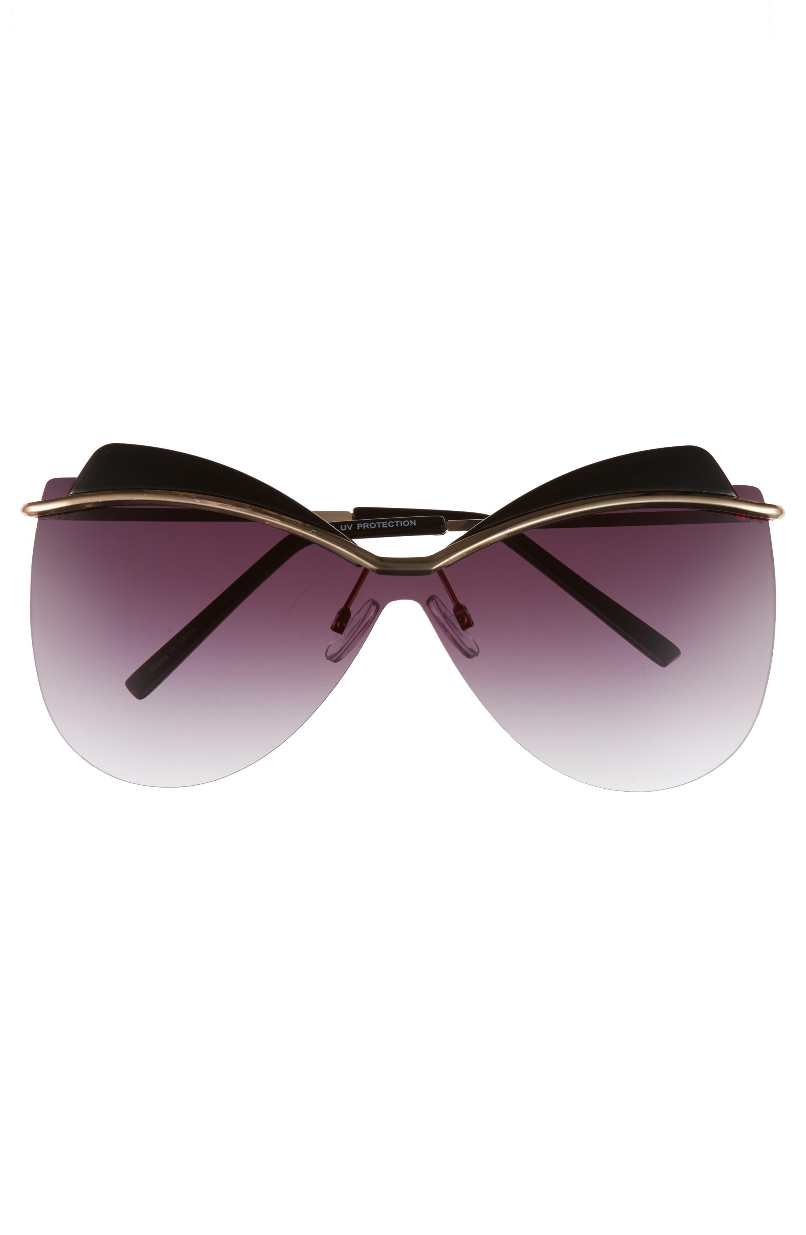 65mm Rimless Shield Sunglasses,                             Alternate thumbnail 3, color,                             Black/ Gold