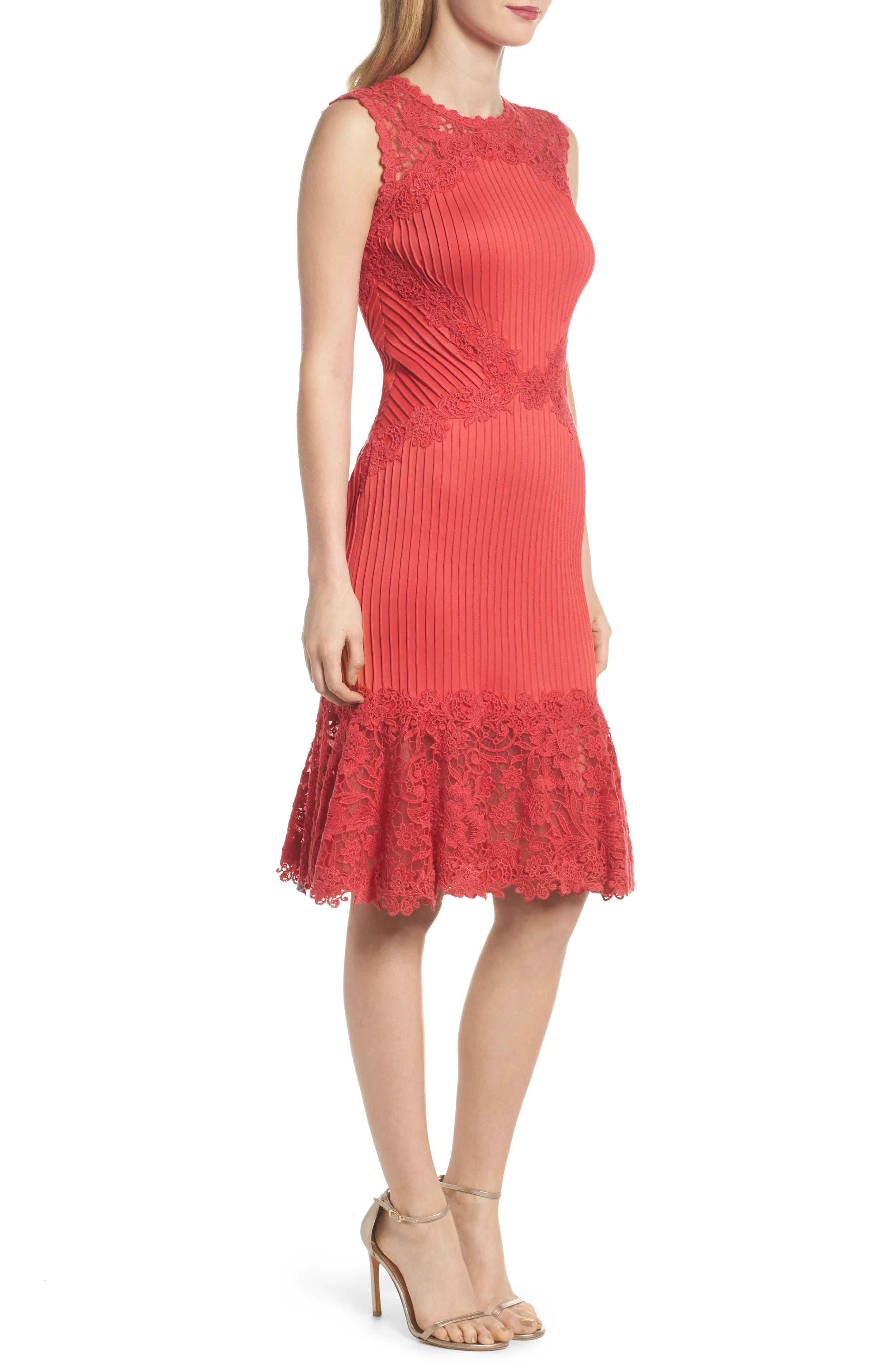 Crochet Trim Pintucked Sheath Dress,                             Alternate thumbnail 3, color,                             Pop Red