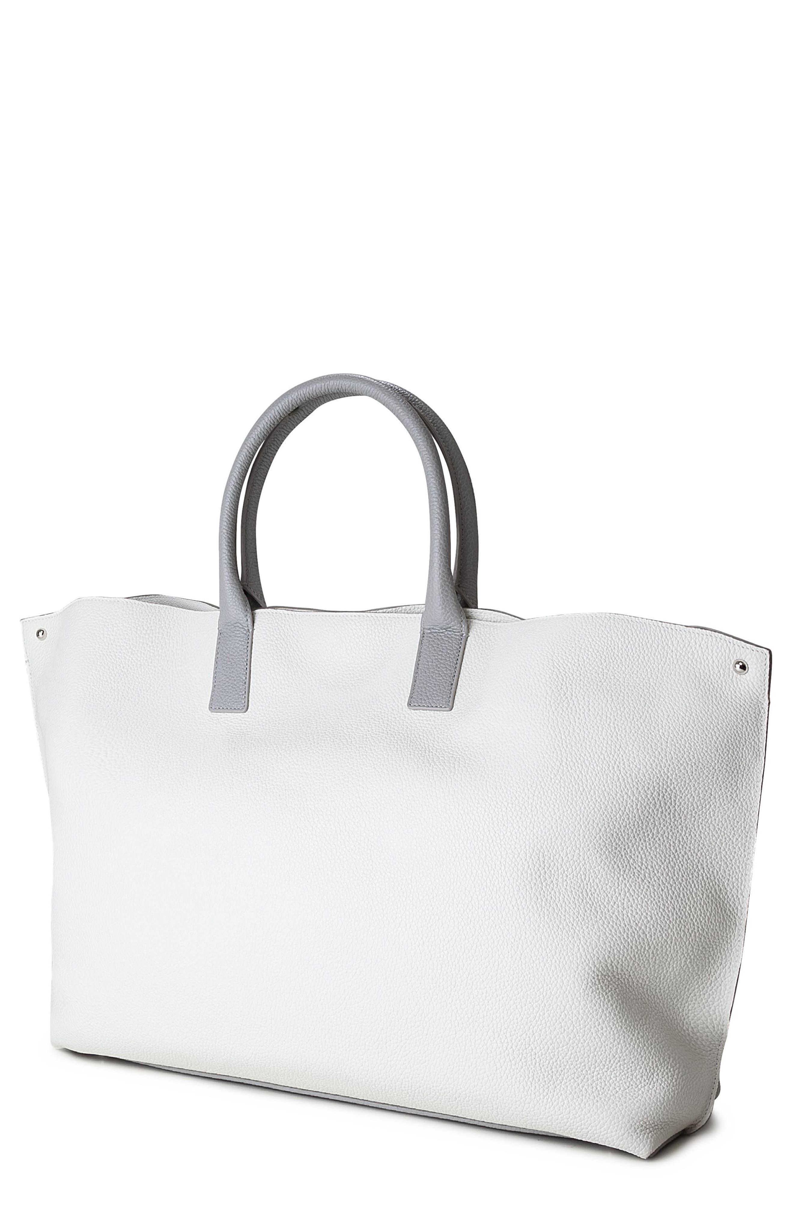 'AI Medium Messenger' Tricolor Leather Tote,                         Main,                         color, Marmo/ White/ Light Silver
