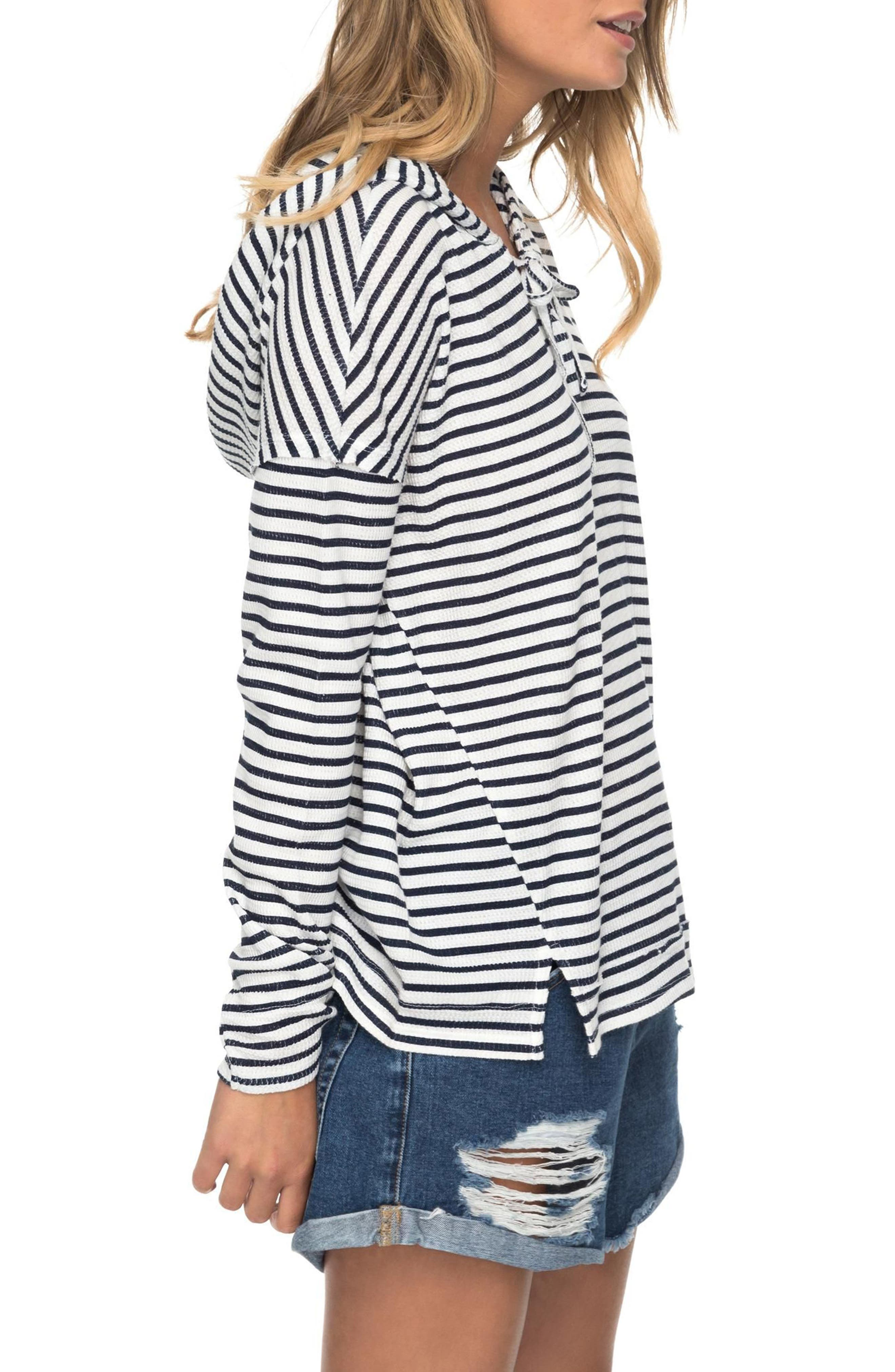 Wanted and Wild Thermal Hooded Top,                             Alternate thumbnail 4, color,                             Marshmallow Classic Stripe Vol