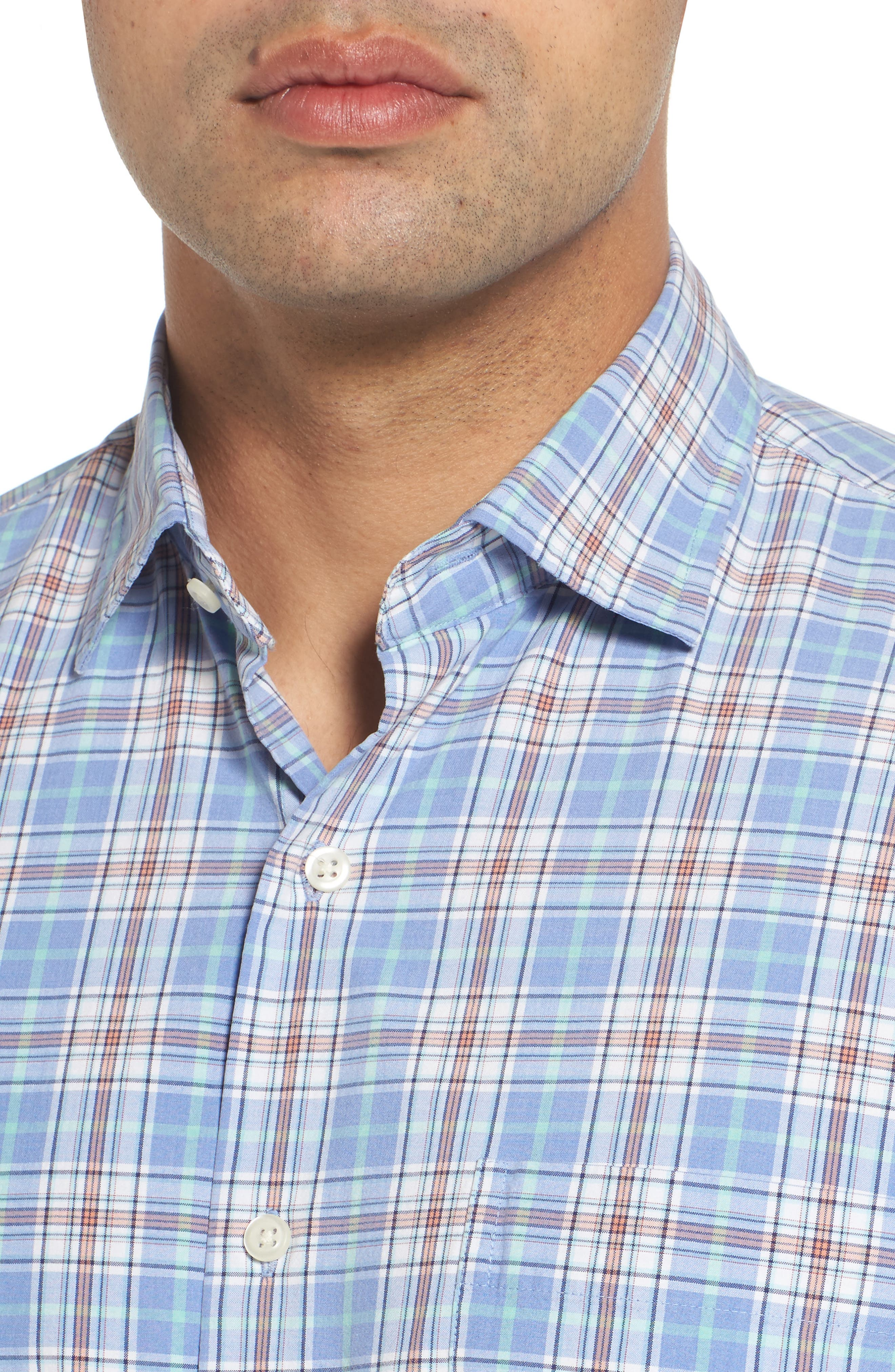 Rockport Plaid Sport Shirt,                             Alternate thumbnail 4, color,                             Bonnet
