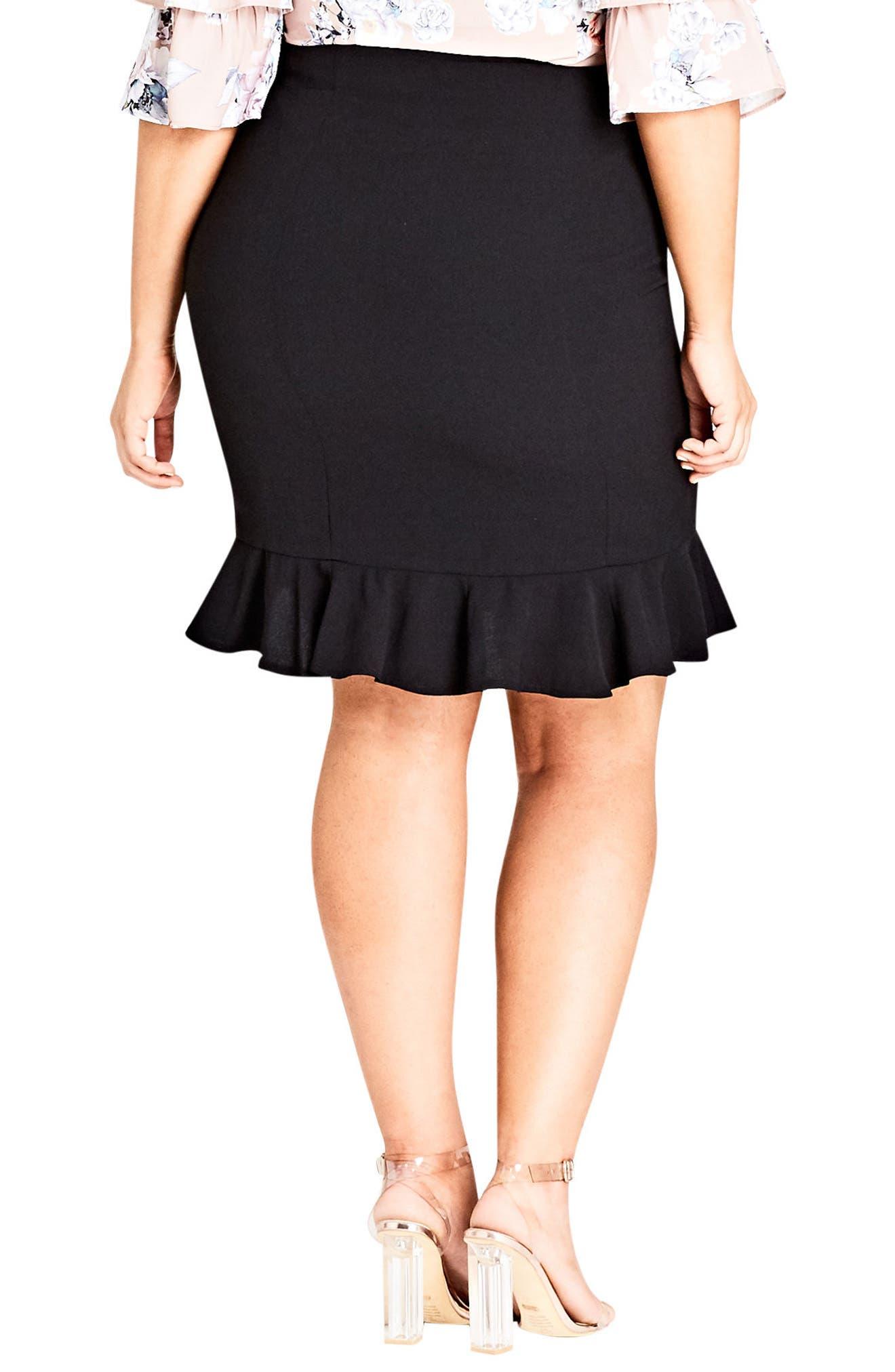 Pencil Flute Skirt,                             Alternate thumbnail 2, color,                             Black