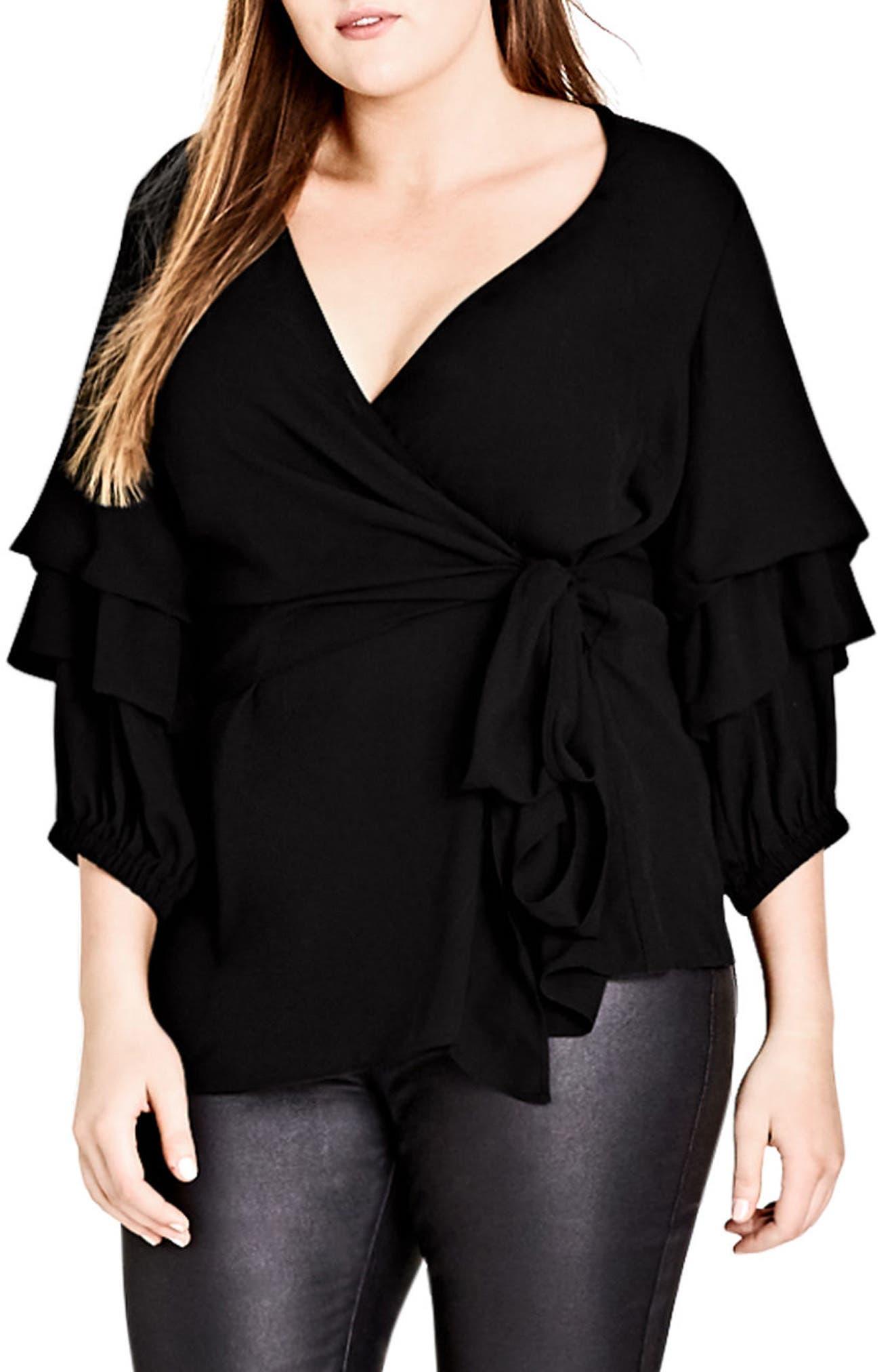 Desire Faux Wrap Shirt,                         Main,                         color, Black