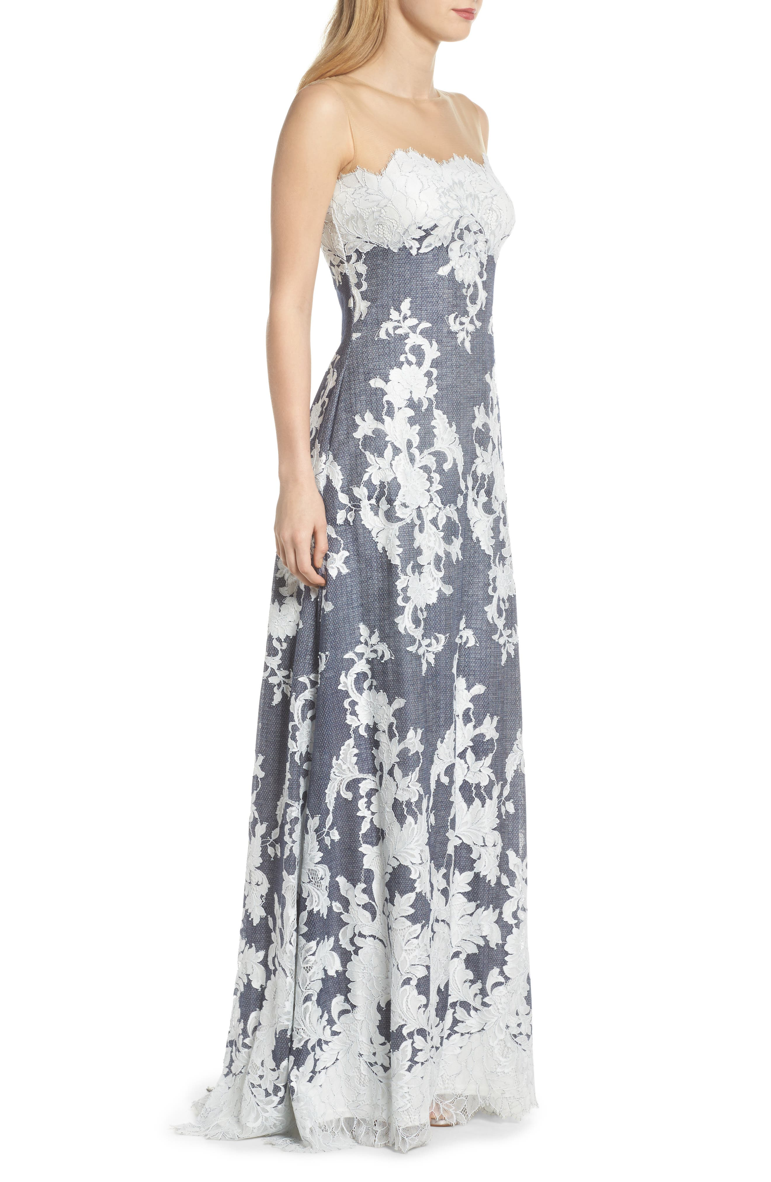 Illusion Neck Embroidered Gown,                             Alternate thumbnail 3, color,                             Navy/ Ivory