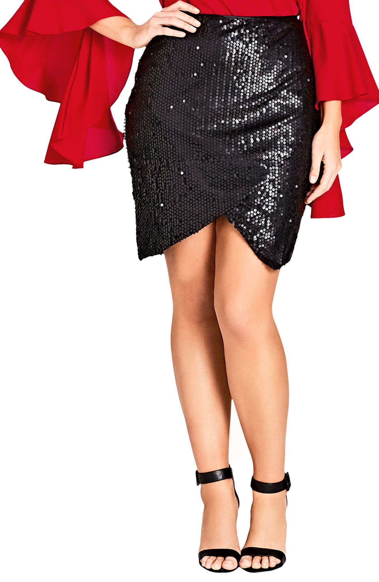 Main Image - City Chic Dazzle Me Skirt (Plus Size)