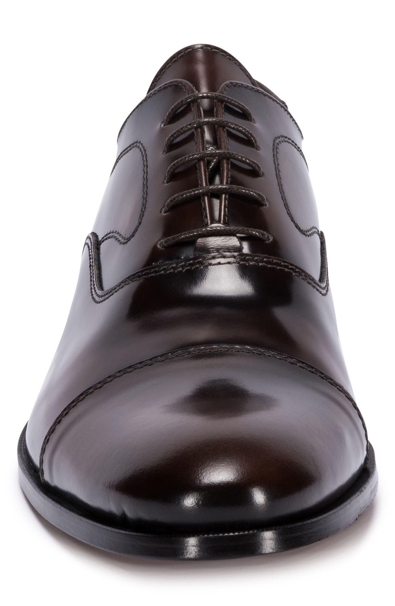 Garda Cap Toe Oxford,                             Alternate thumbnail 4, color,                             Brown Leather
