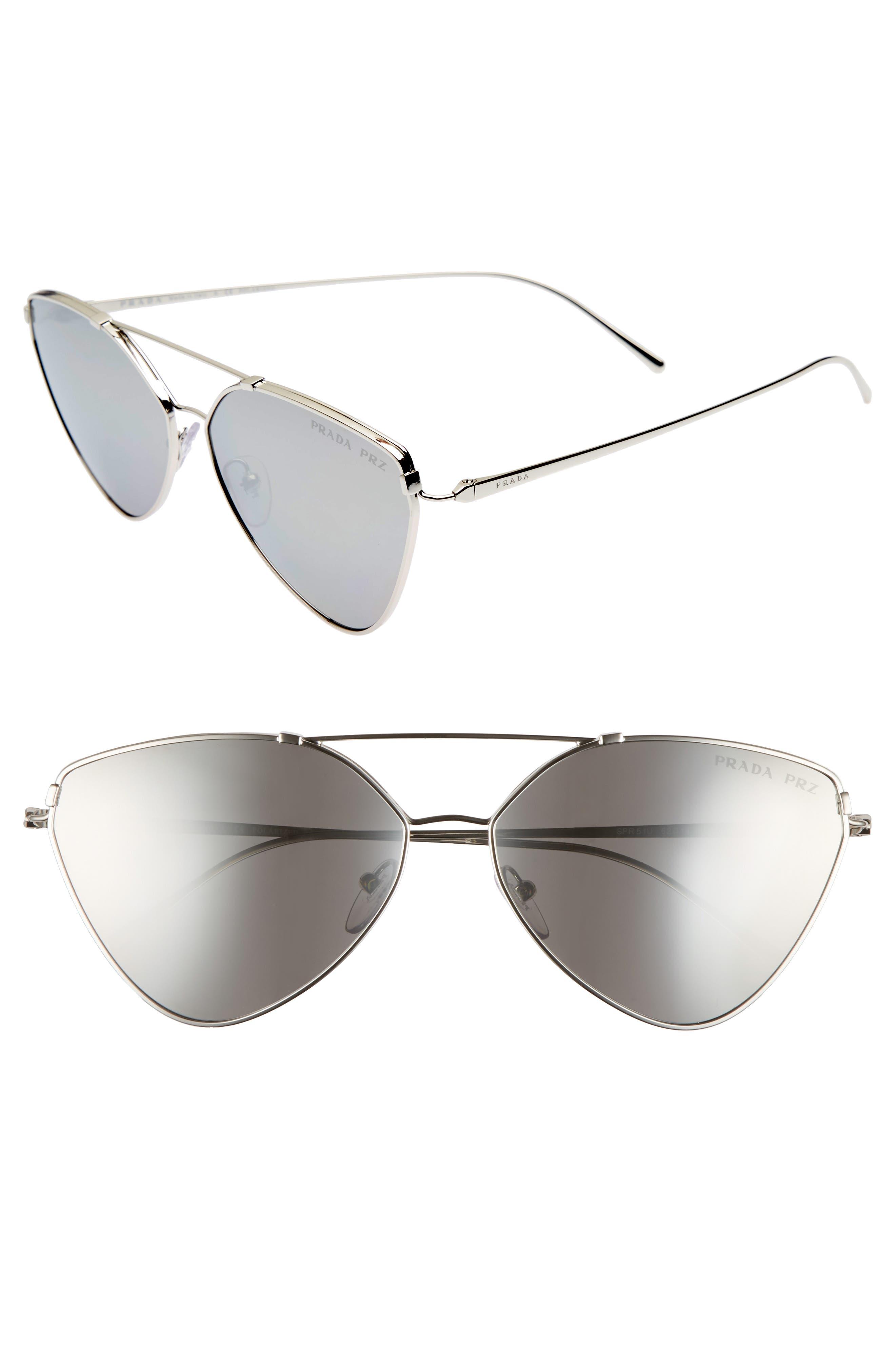 62mm Polarized Oversize Aviator Sunglasses,                         Main,                         color, Silver
