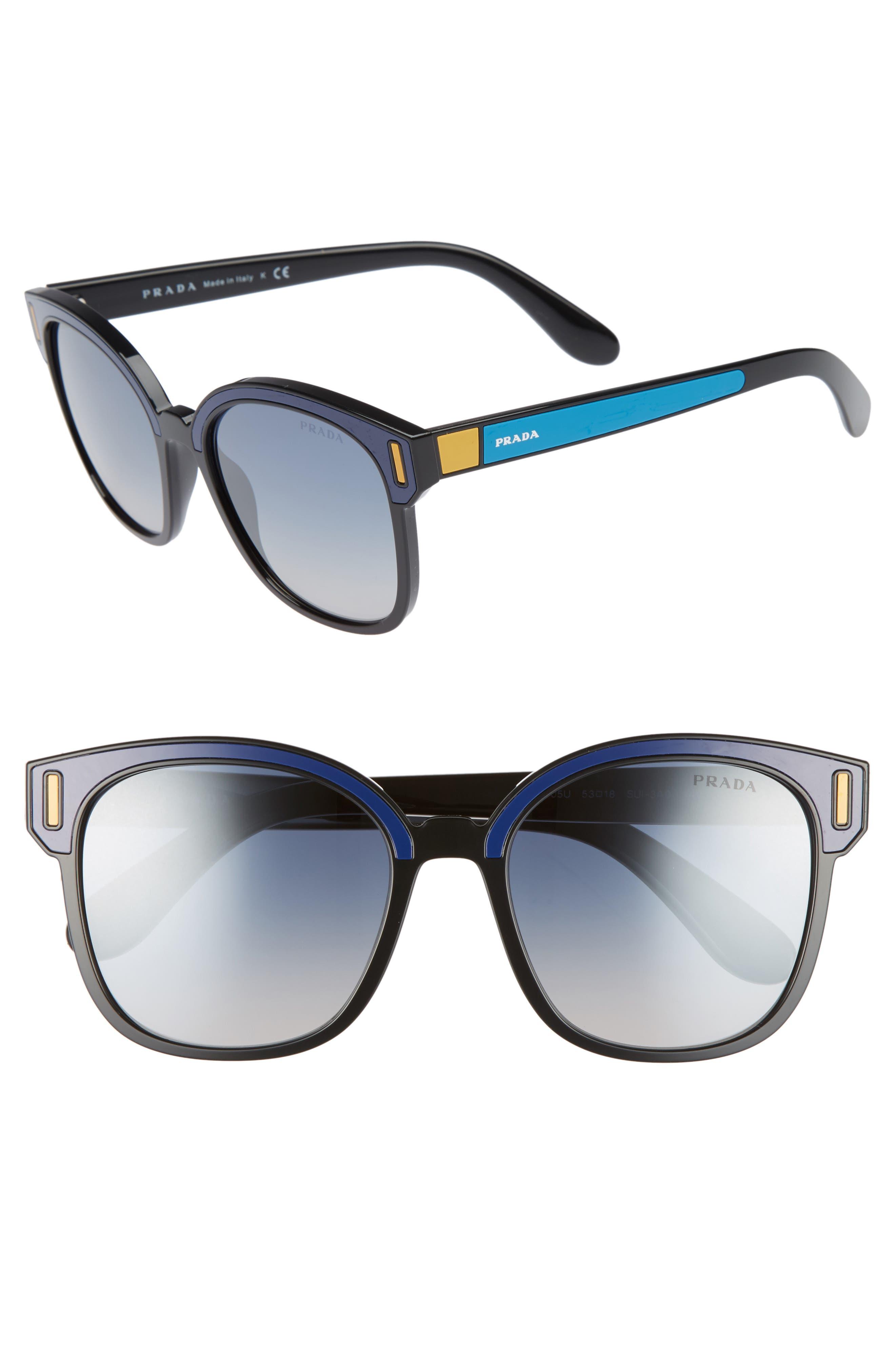 53mm Sunglasses,                         Main,                         color, Black/ Blue
