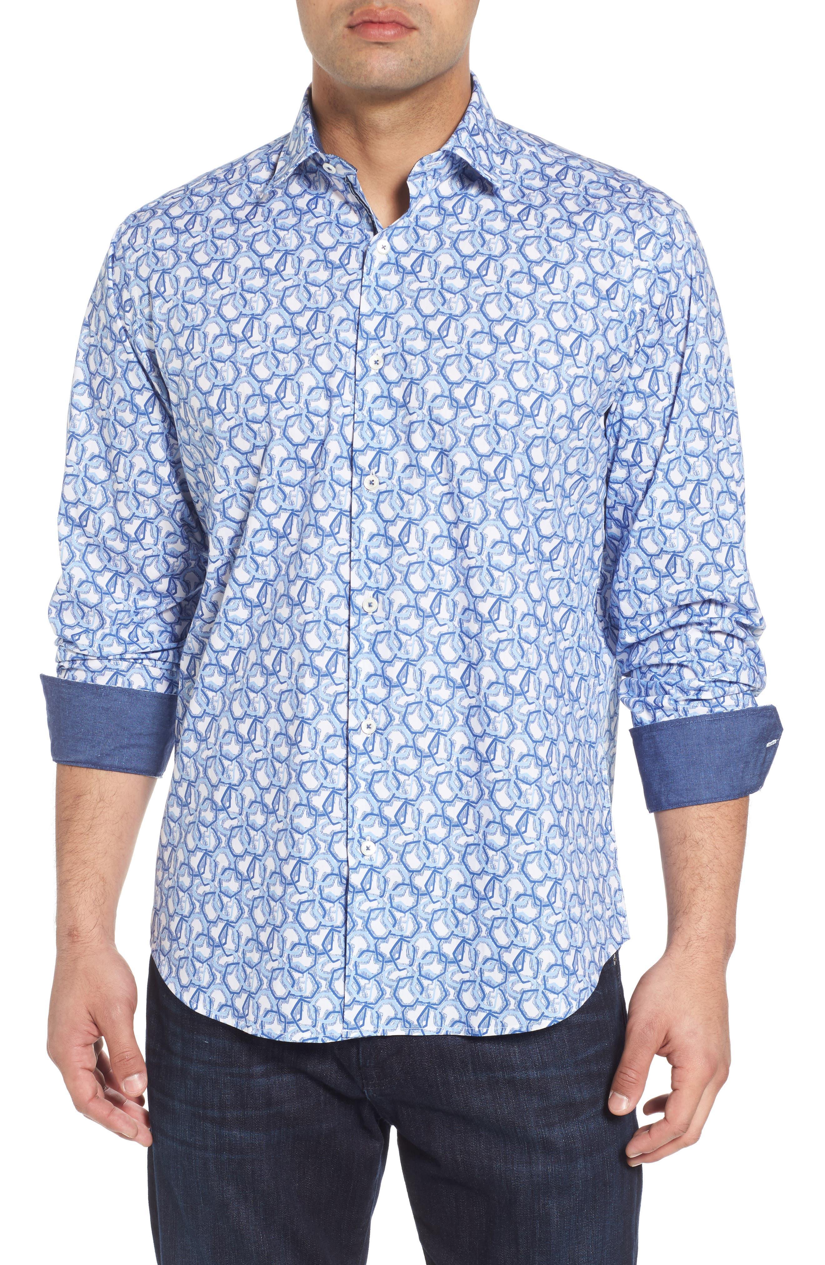 Alternate Image 1 Selected - Bugatchi Classic Fit Print Sport Shirt