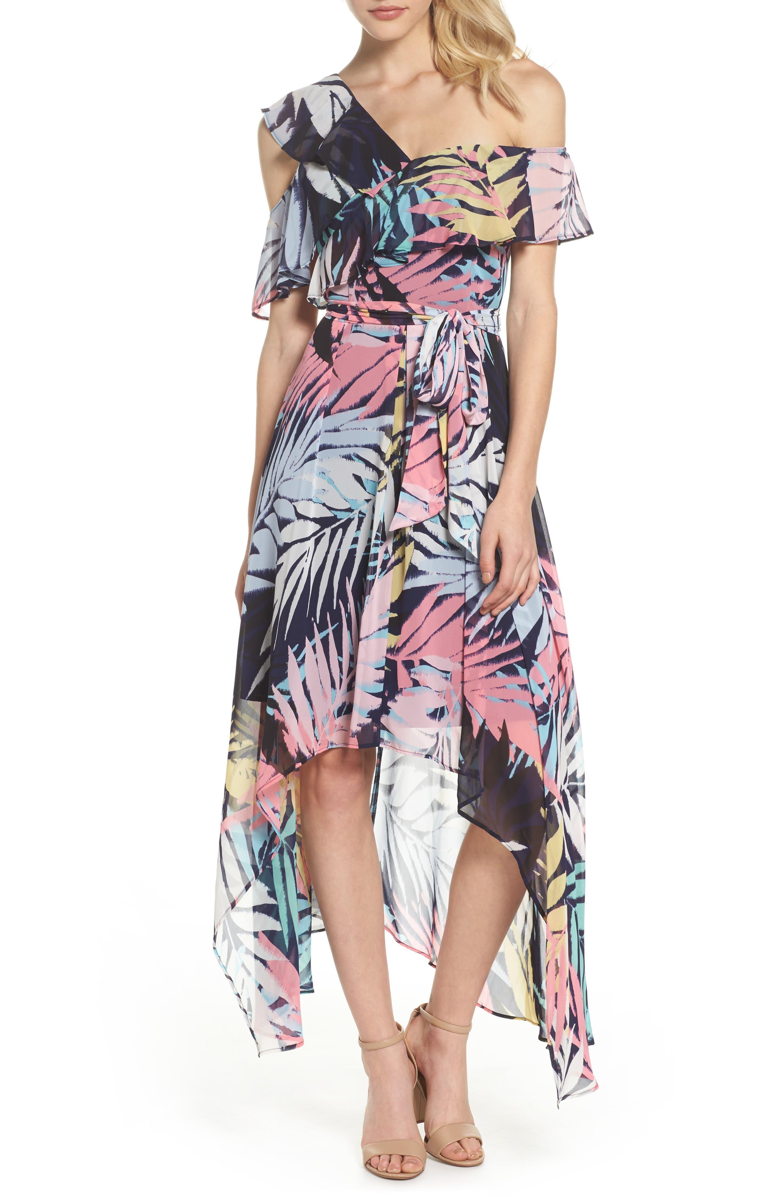 Asymmetrical Neck Maxi Dress,                             Main thumbnail 1, color,                             Navy Multi