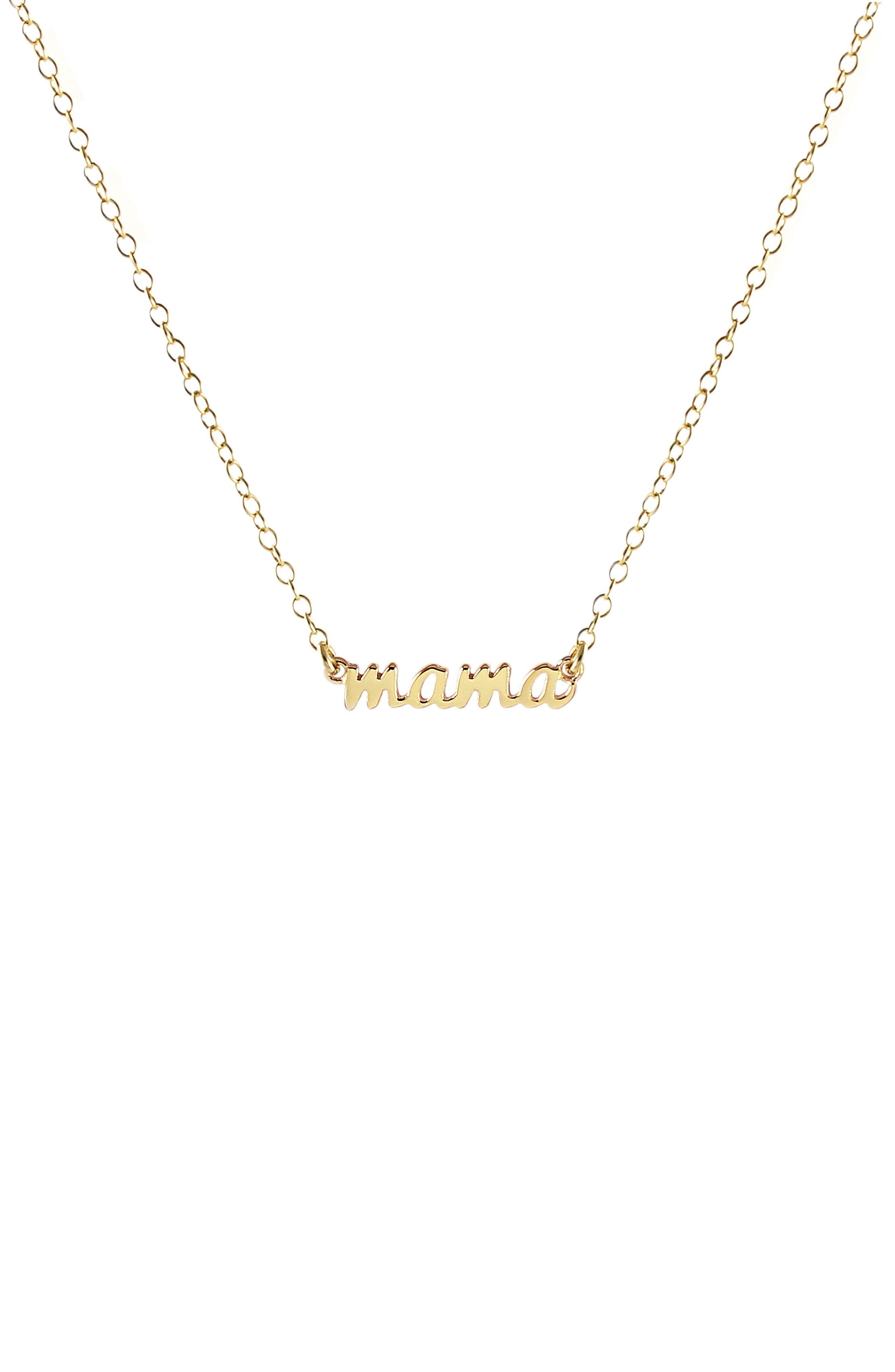 Mama Script Necklace,                         Main,                         color, Gold
