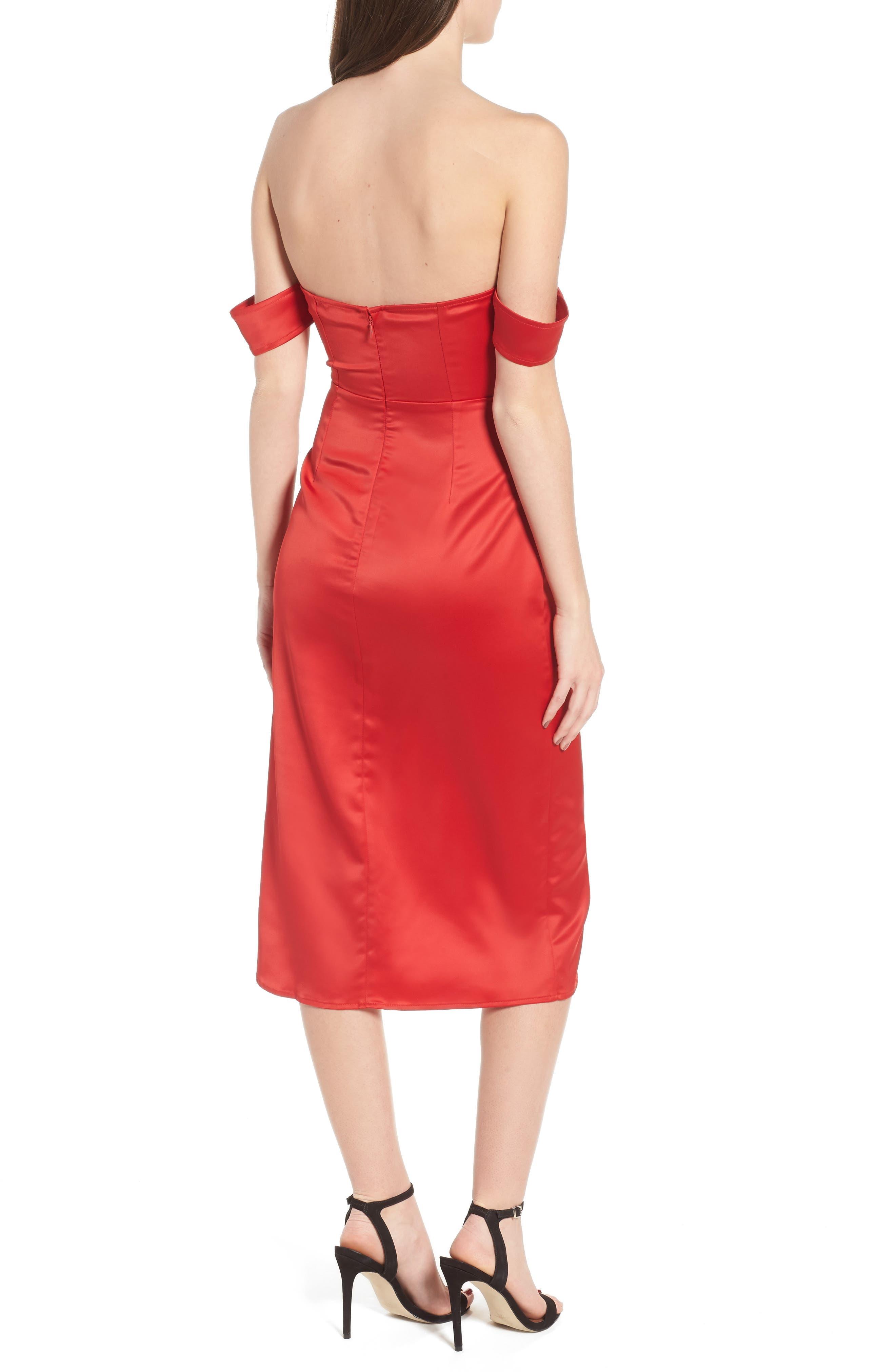 Meagan Midi Dress,                             Alternate thumbnail 2, color,                             Red