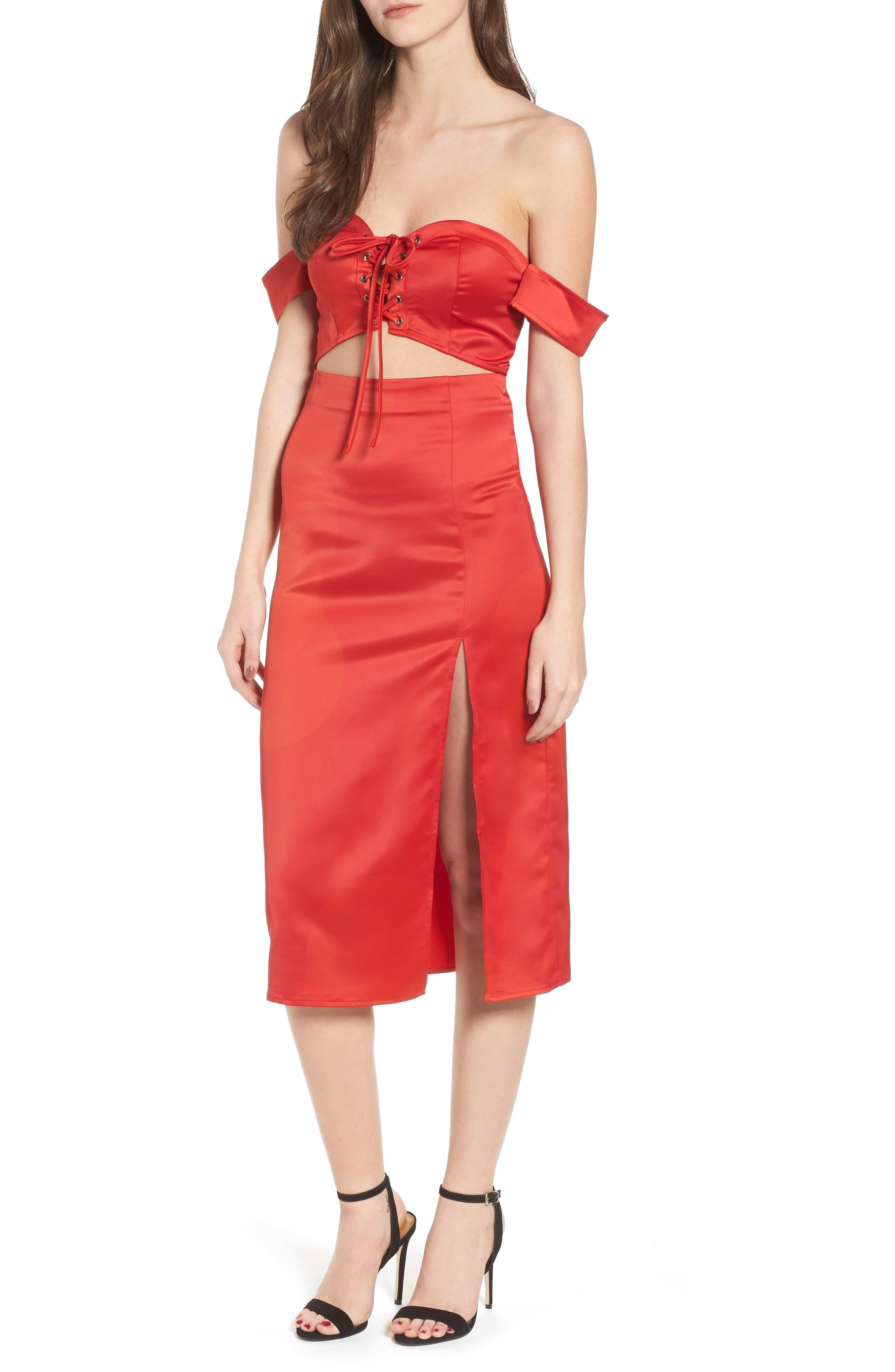 Meagan Midi Dress,                         Main,                         color, Red