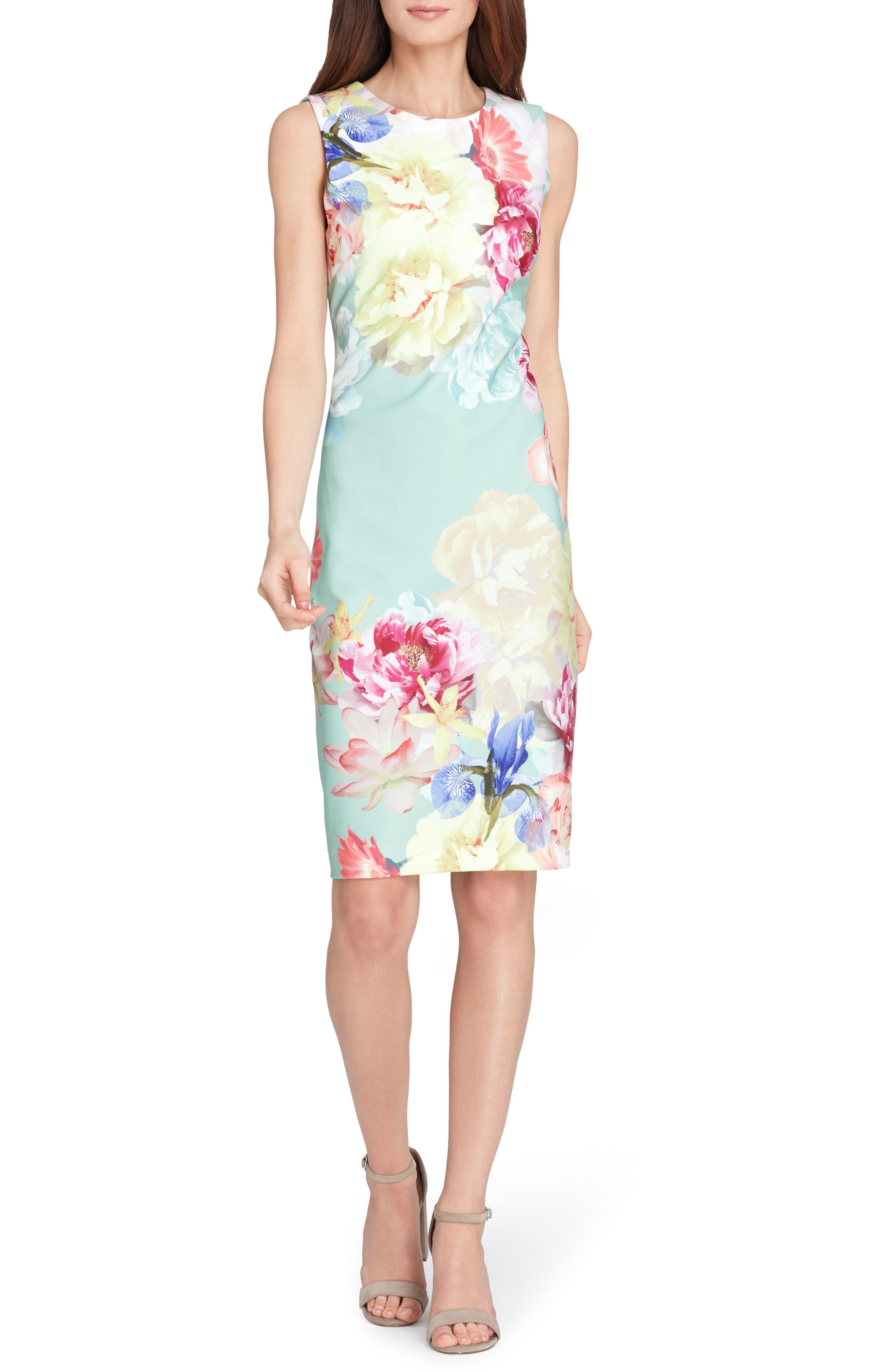Floral Sheath Dress,                         Main,                         color, Sage/ Lemon/ Coral