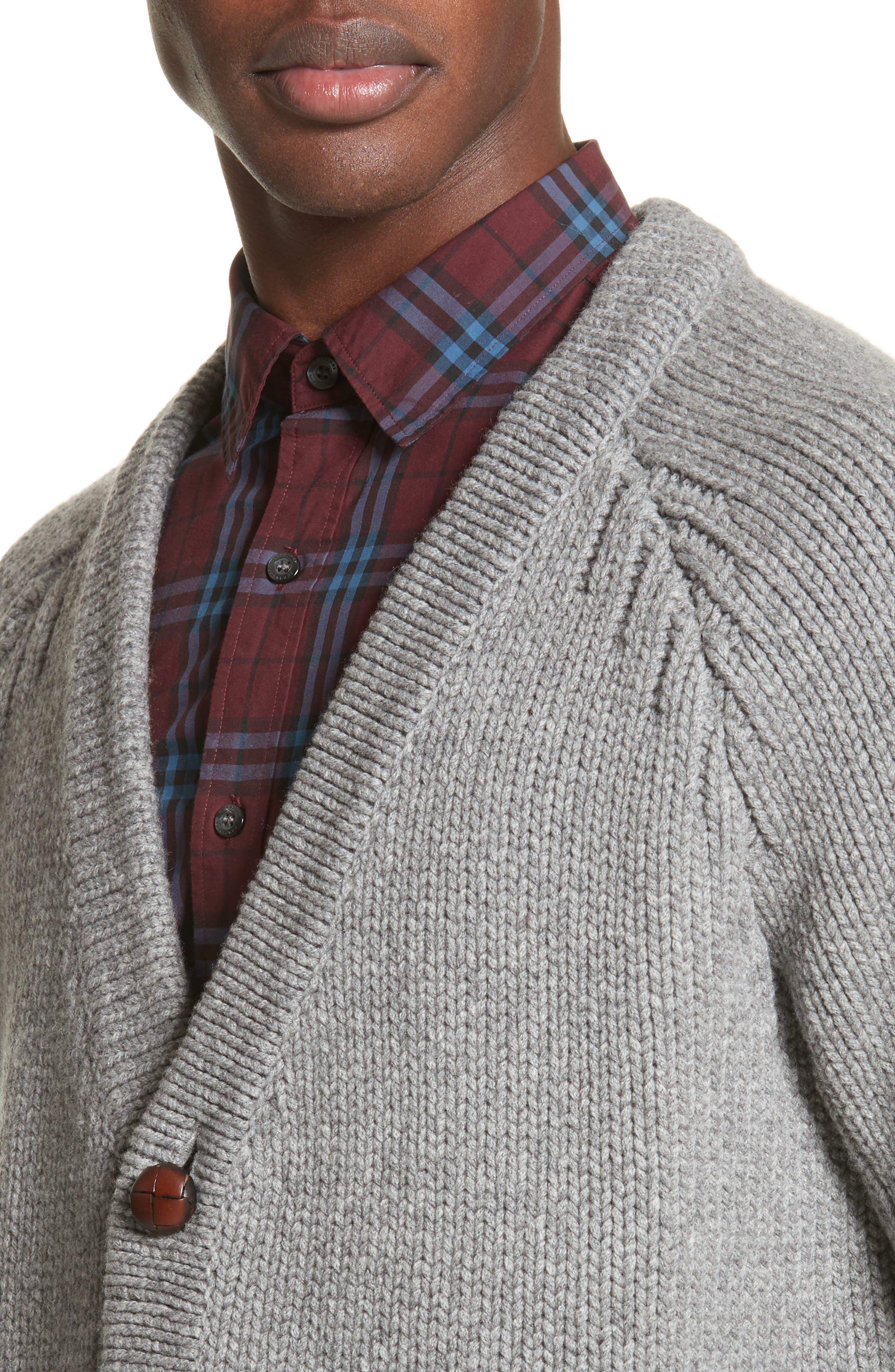 Caldwell Wool & Cashmere Cardigan,                             Alternate thumbnail 4, color,                             Mid Grey Melange