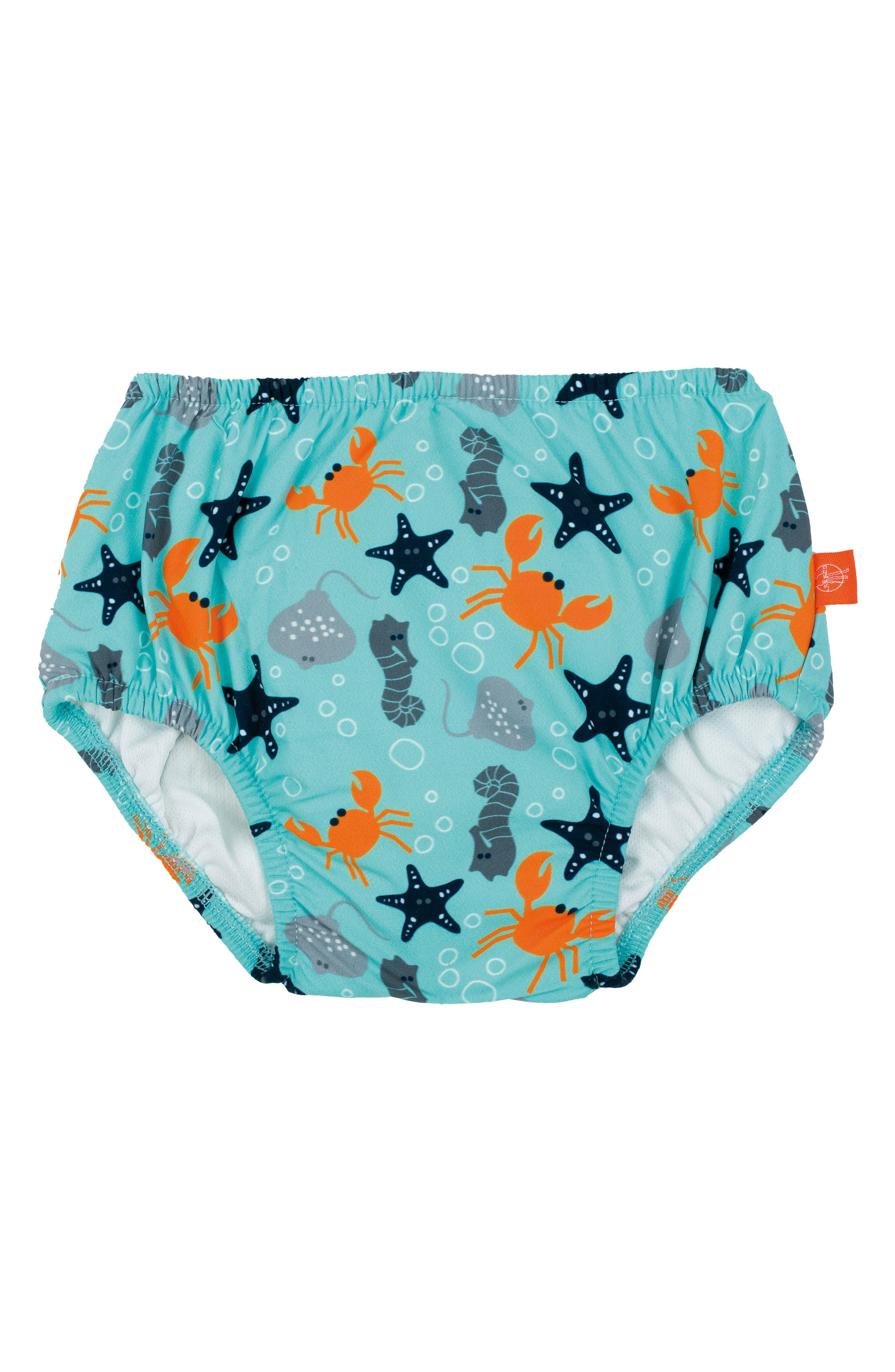 Star Fish Swim Diaper Cover,                             Main thumbnail 1, color,                             Light Blue Orange Grey Navy