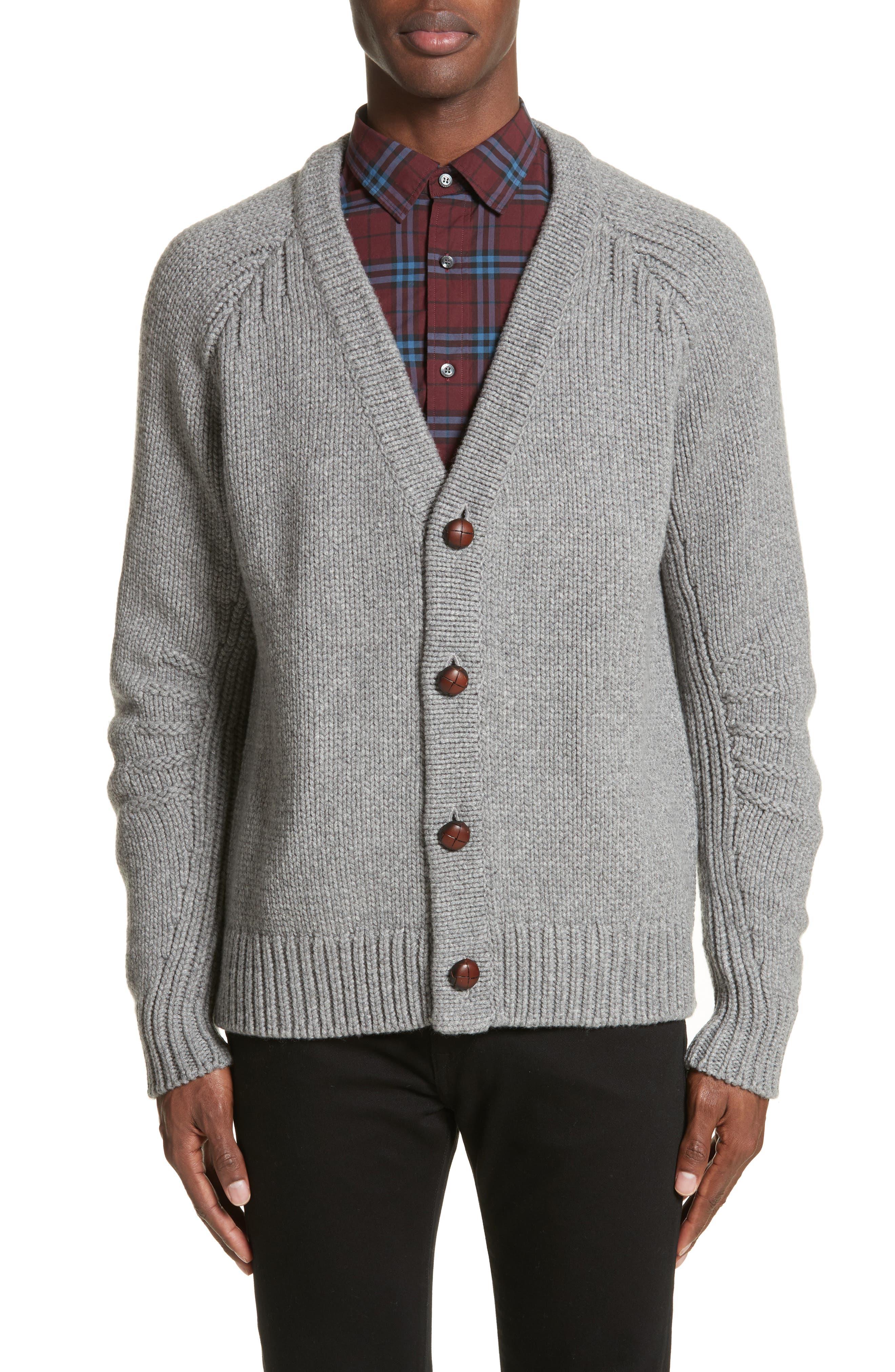Caldwell Wool & Cashmere Cardigan,                         Main,                         color, Mid Grey Melange
