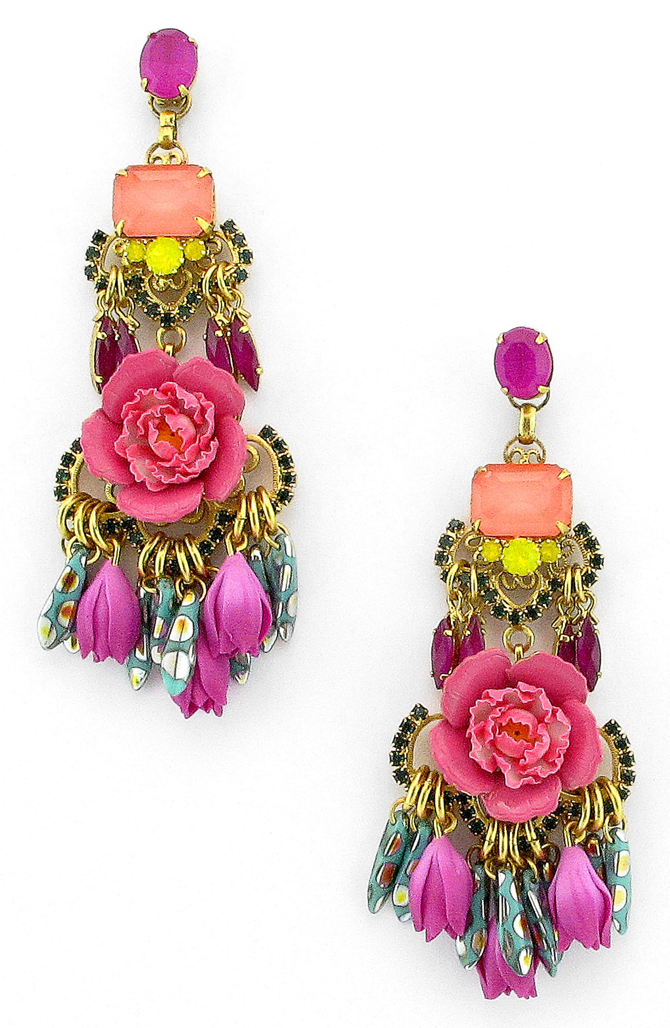 Burke Floral Drop Earrings,                         Main,                         color, Pink