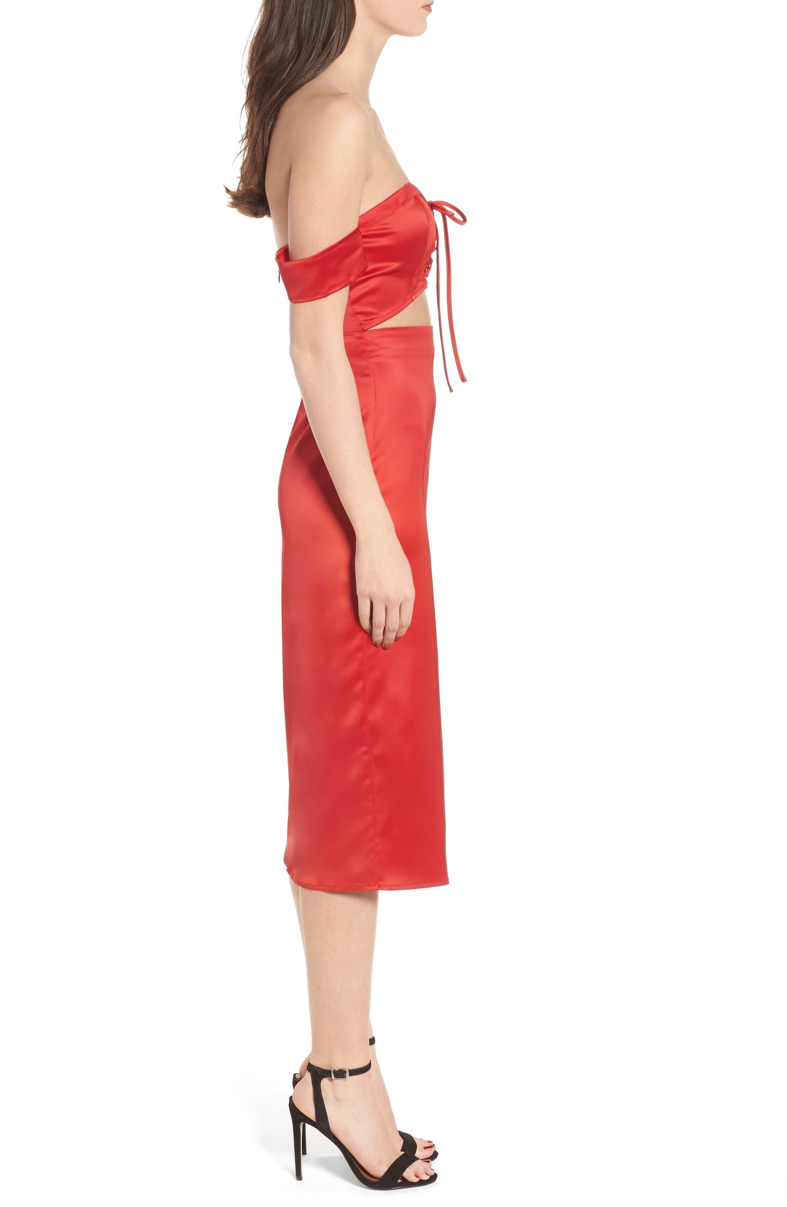 Meagan Midi Dress,                             Alternate thumbnail 3, color,                             Red