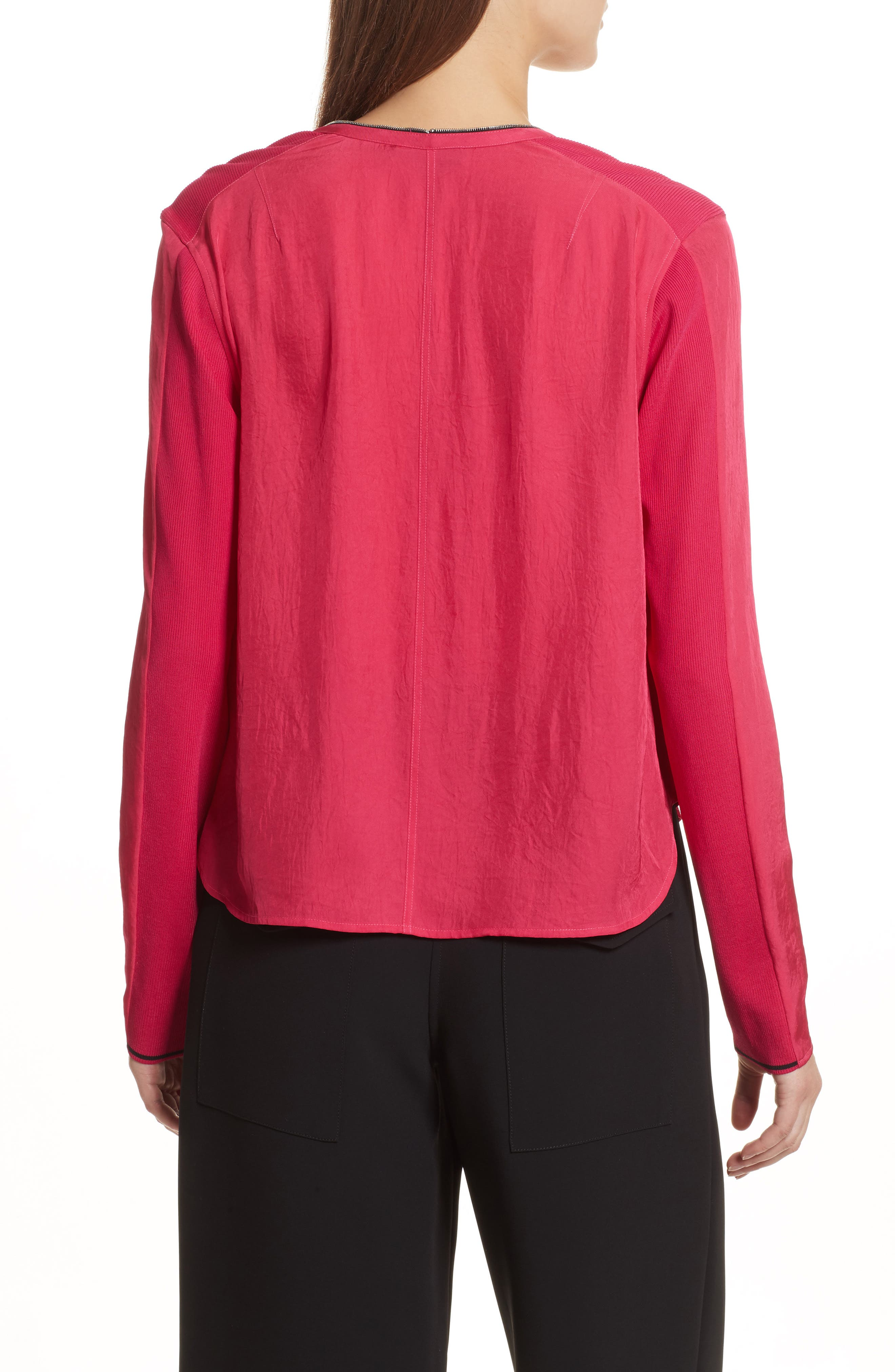 Vanessa Zip Front Blouse,                             Alternate thumbnail 2, color,                             Bright Rose