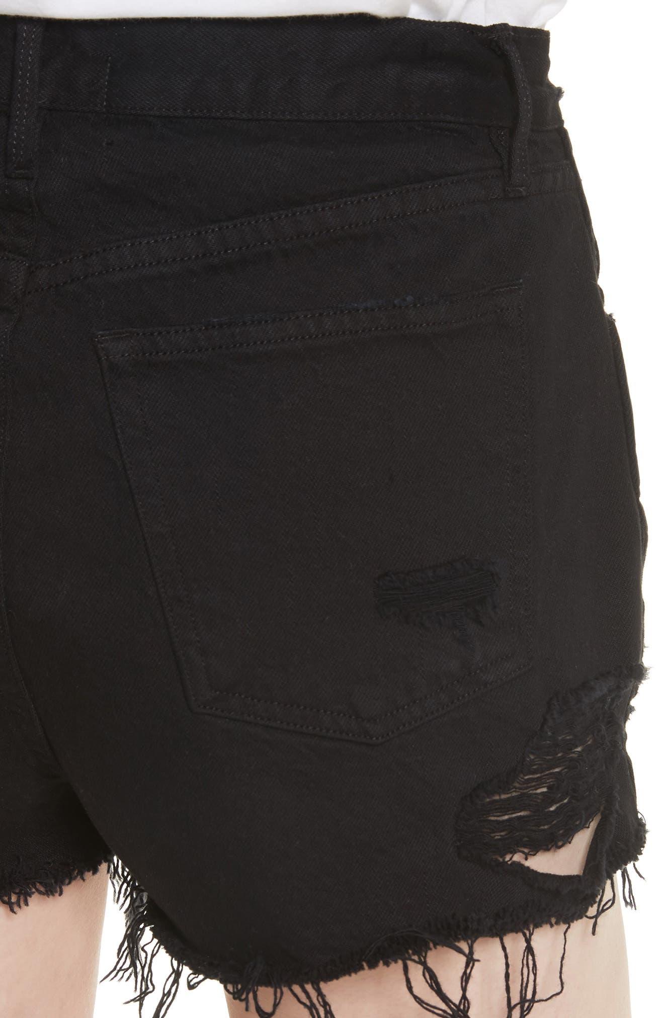 W4 Carter Ripped High Waist Denim Shorts,                             Alternate thumbnail 4, color,                             Carbon