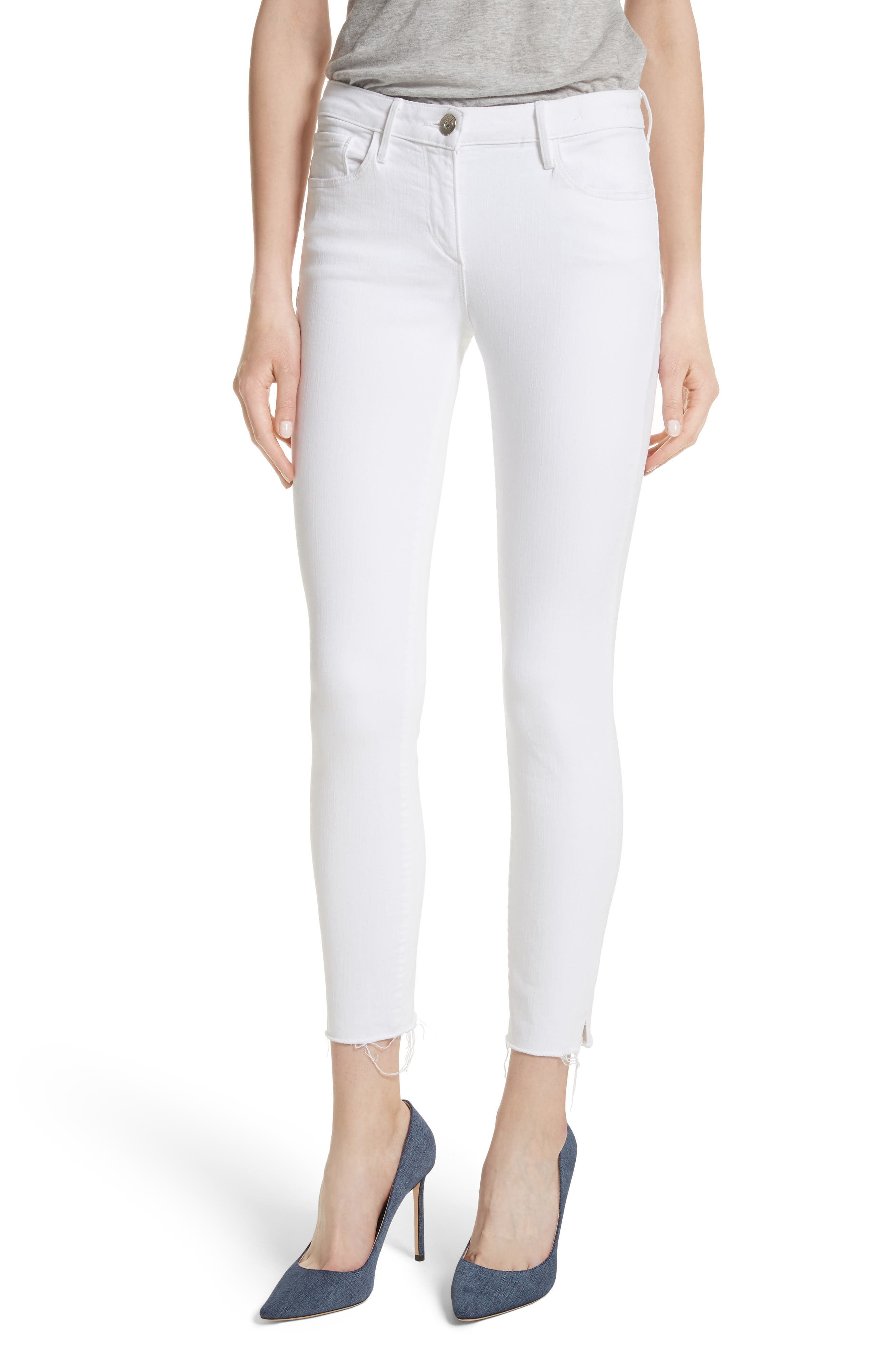 W2 Crop Skinny Jeans,                         Main,                         color, White Tear