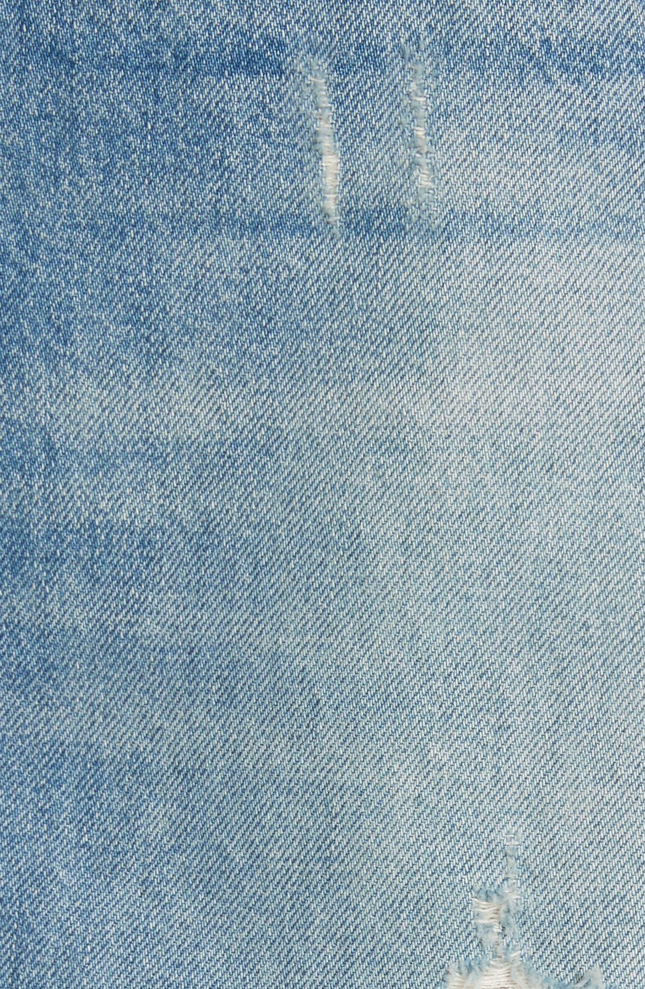Celine Distressed Denim Skirt,                             Alternate thumbnail 5, color,                             Laz