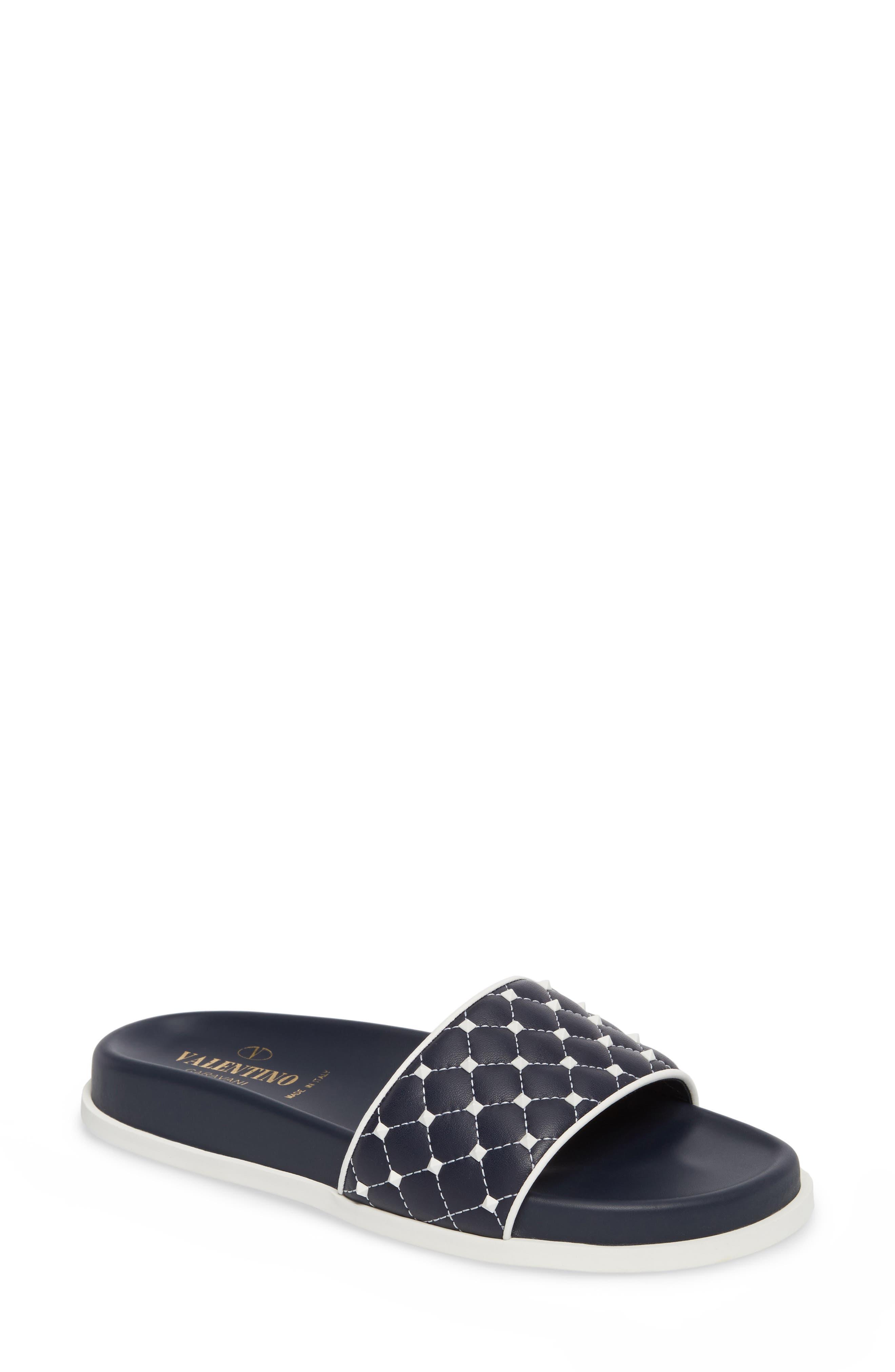 Free Rockstud Slide Sandal,                         Main,                         color, Marine/ White
