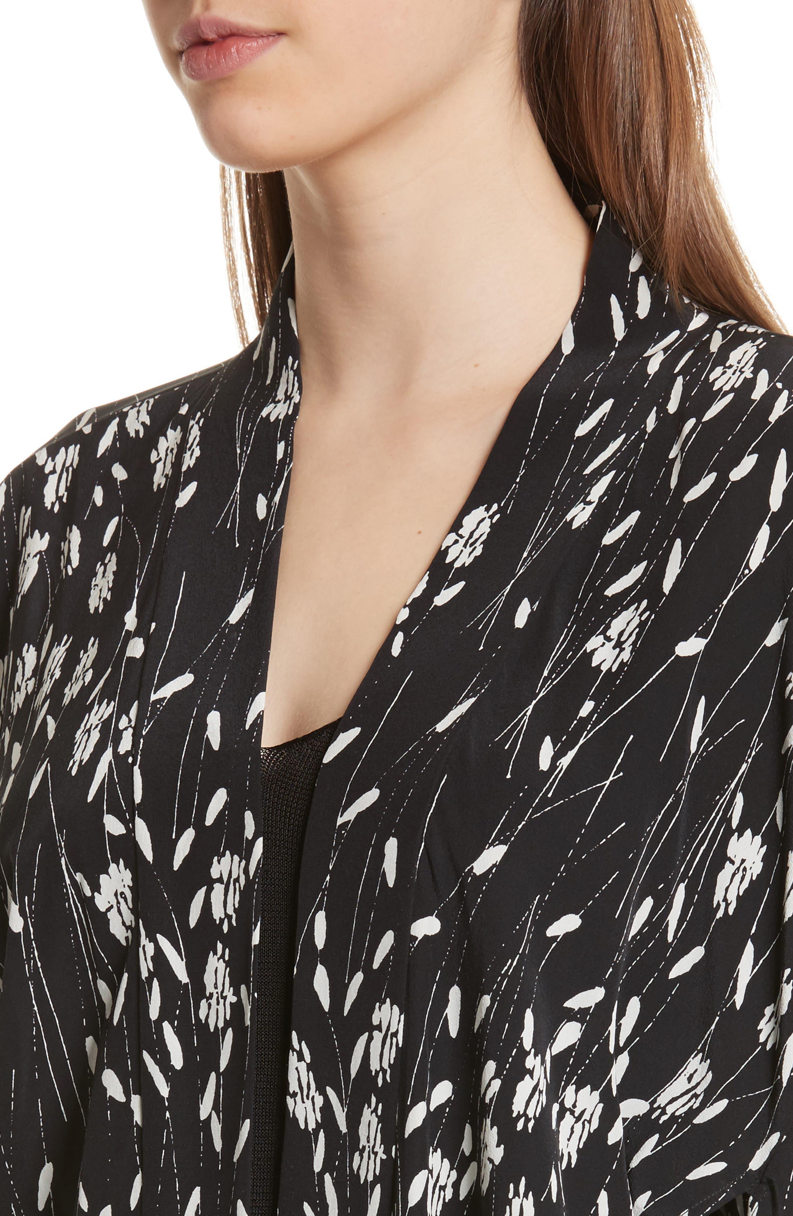 Kima Silk Cover-Up Kimono,                             Alternate thumbnail 4, color,                             Black