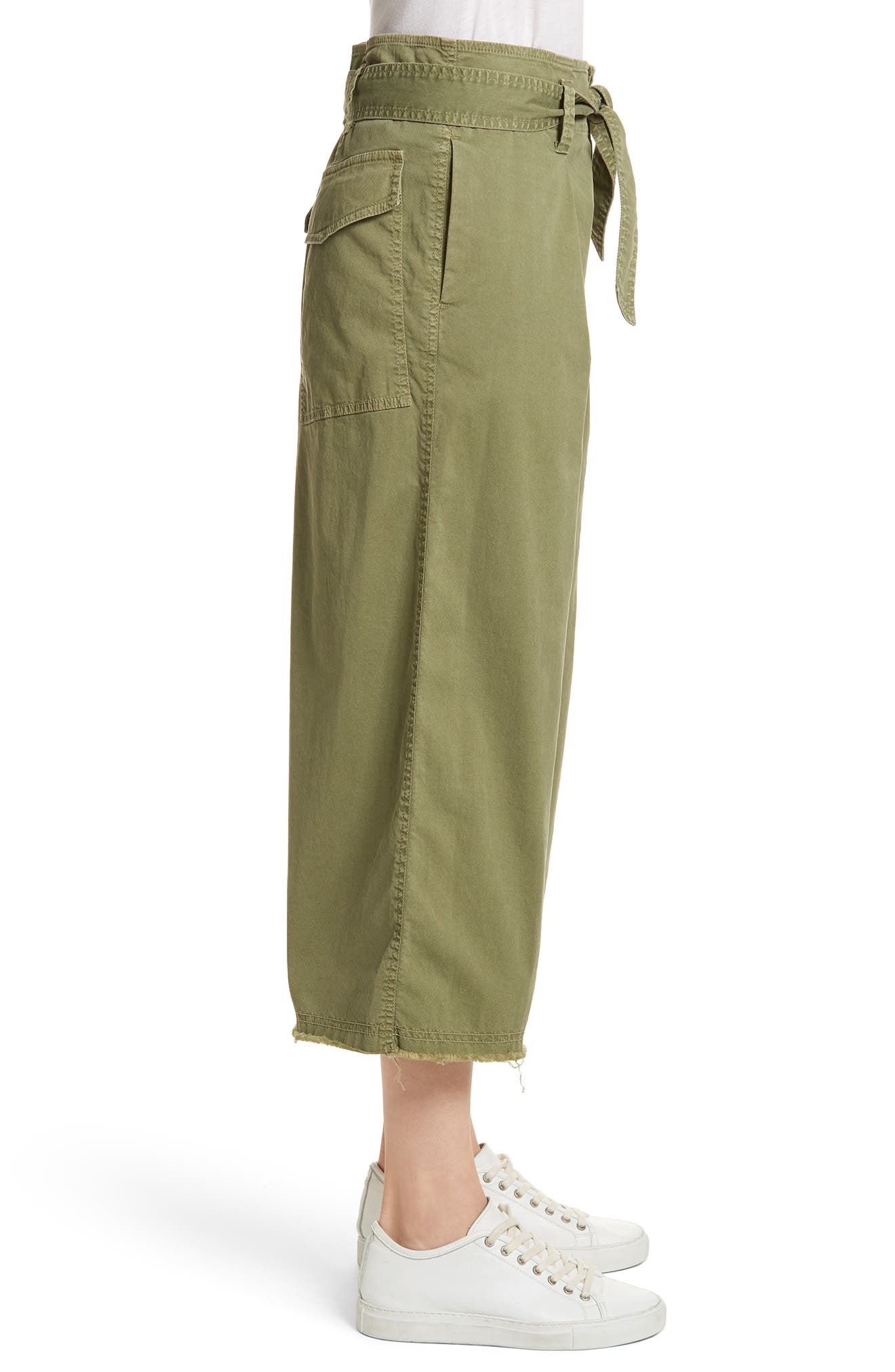 Ellie Drop Rise Culottes,                             Alternate thumbnail 3, color,                             Army Green