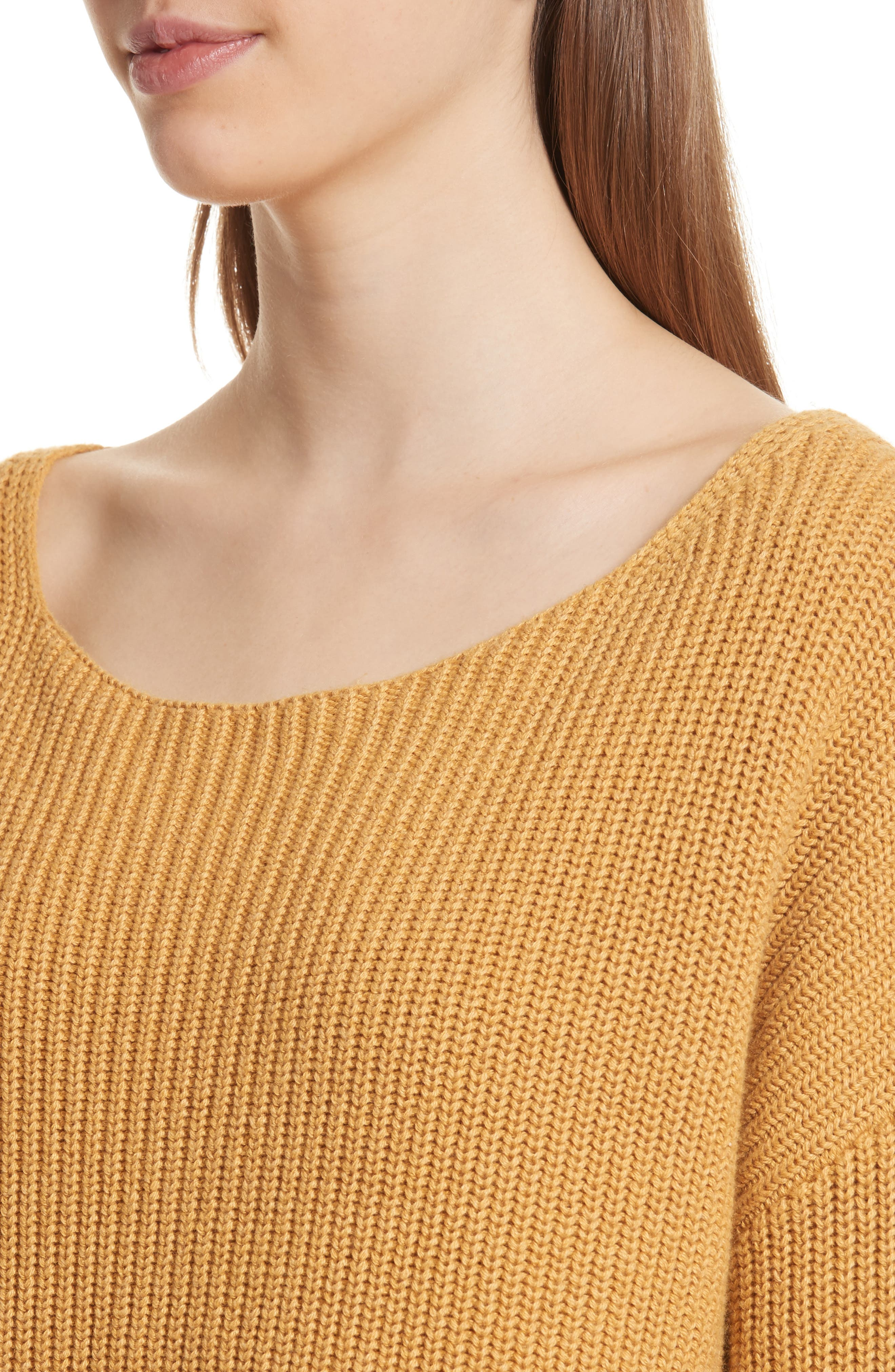Martindale Ribbed Cotton, Cashmere & Silk Sweater,                             Alternate thumbnail 4, color,                             Mustard