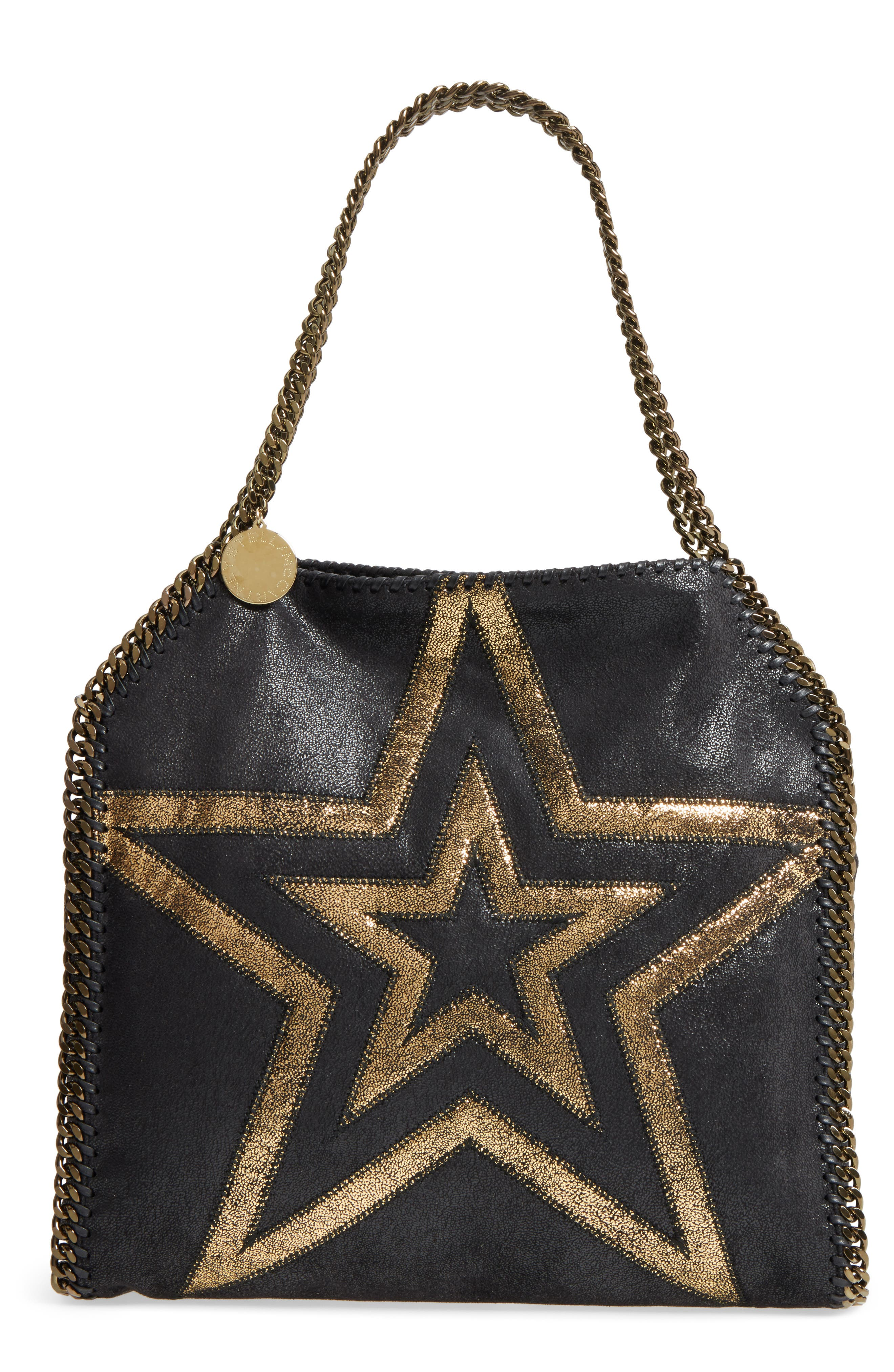Small Falabella Shaggy Deer Star Faux Leather Tote,                             Main thumbnail 1, color,                             Black/ Gold