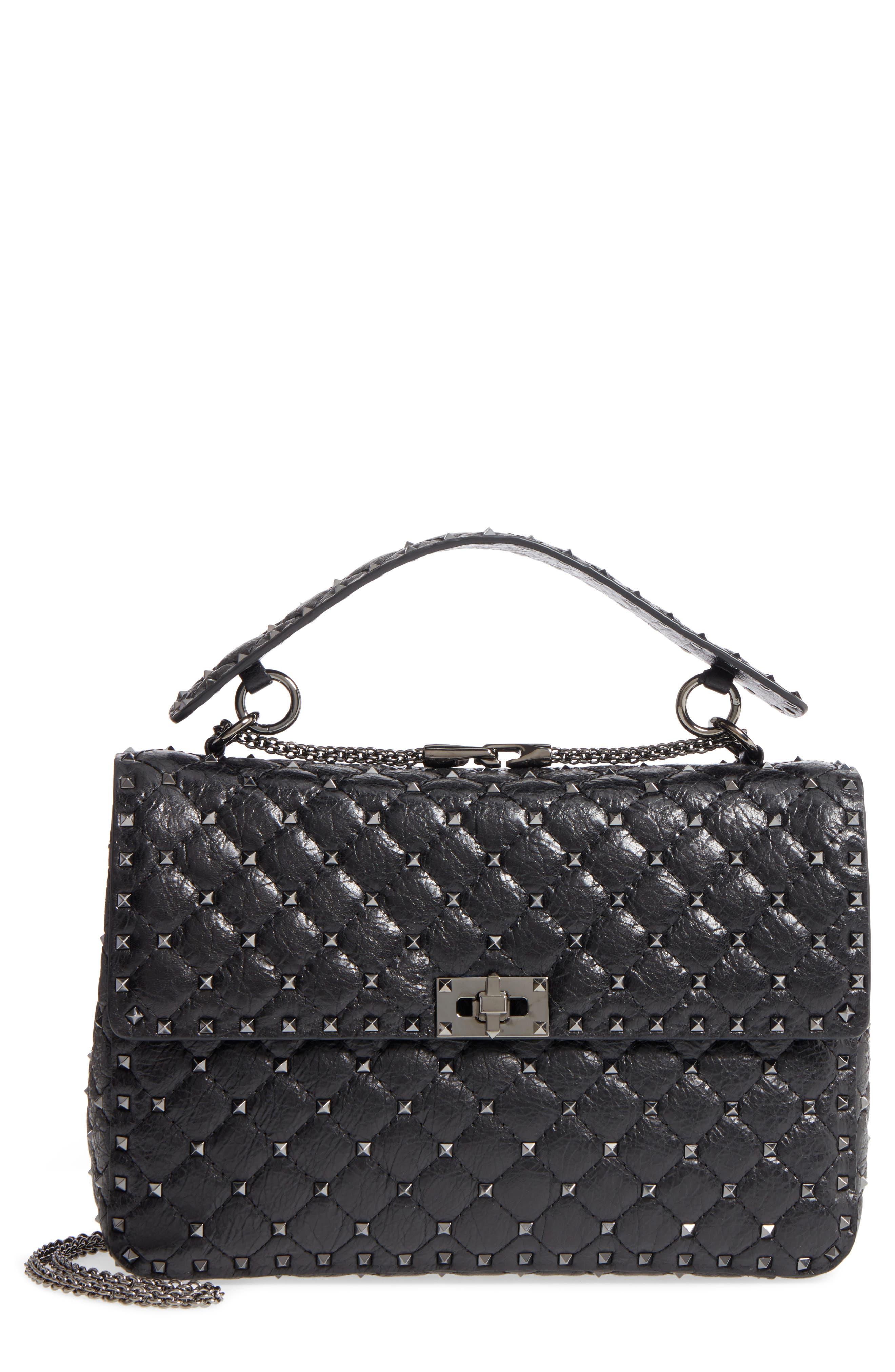 Vitello Rockstud Lambskin Leather Shoulder Bag,                             Main thumbnail 1, color,                             Nero
