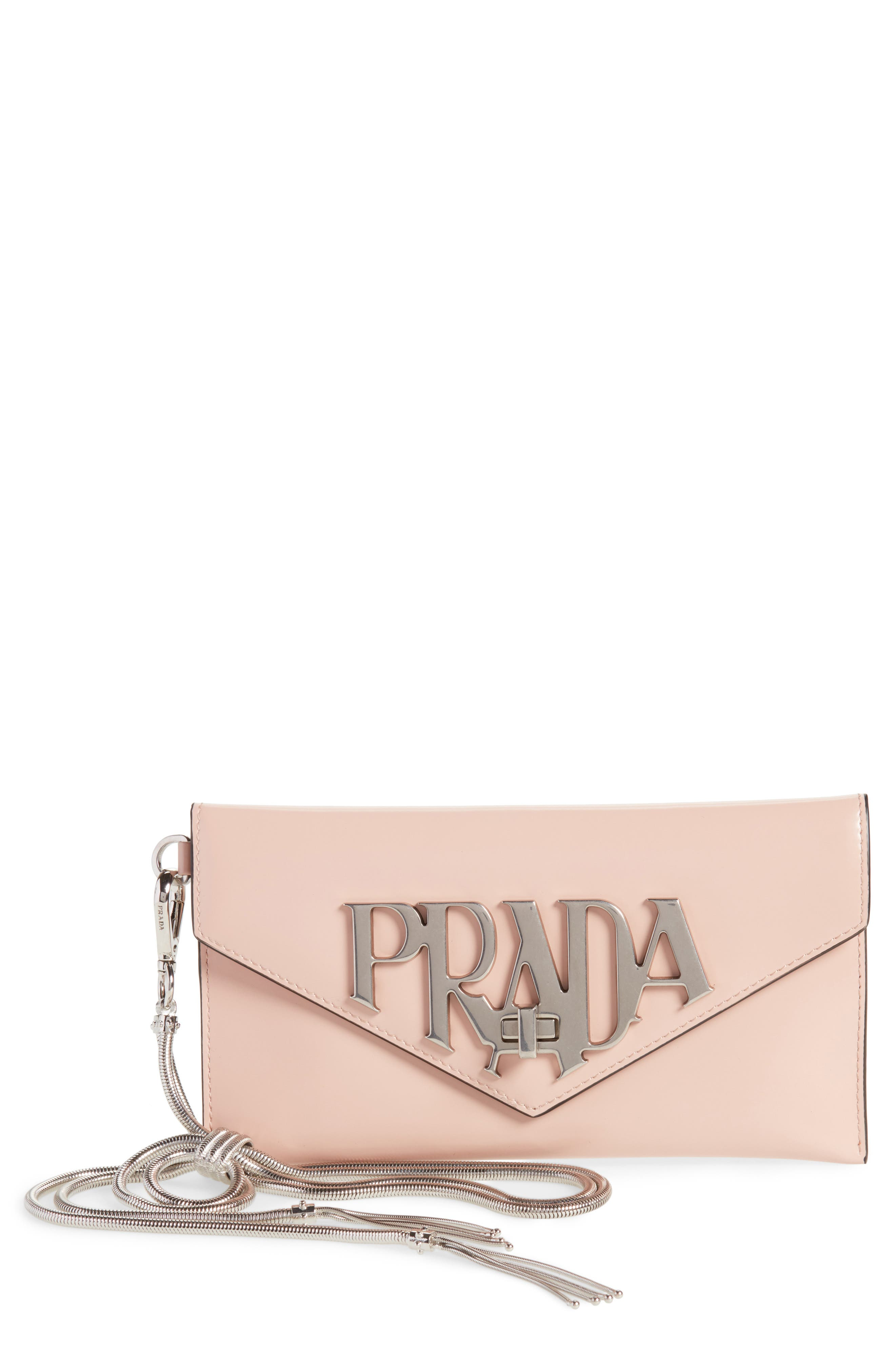 Spazzolato Leather Wristlet,                         Main,                         color, Pesca