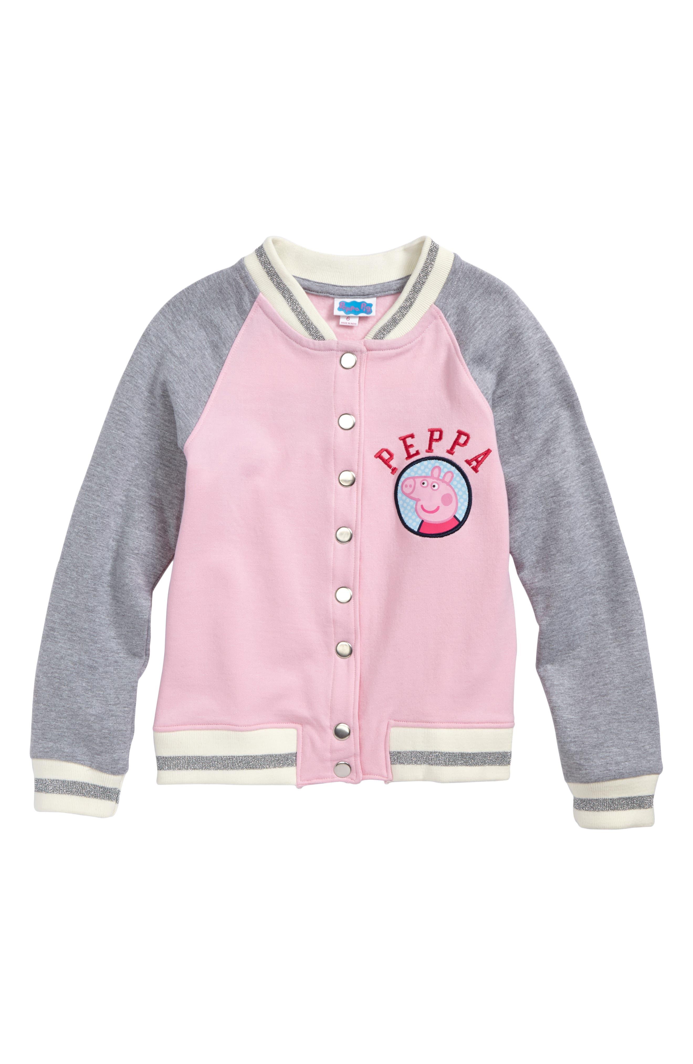 Happy Threads Peppa Pig Varsity Jacket (Toddler Girls & Little Girls)