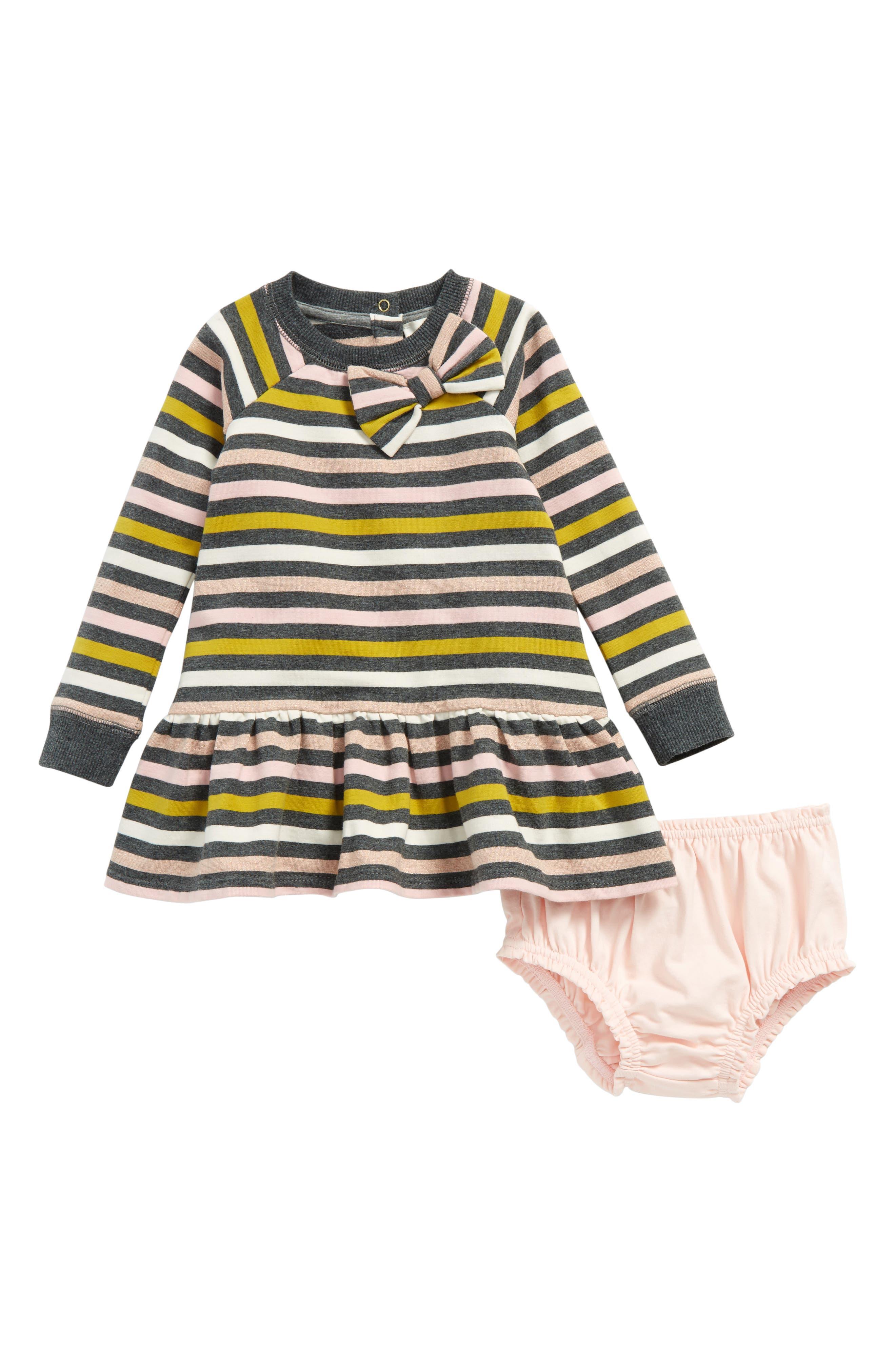 kate spade new york metallic stripe dress (Baby Girls)
