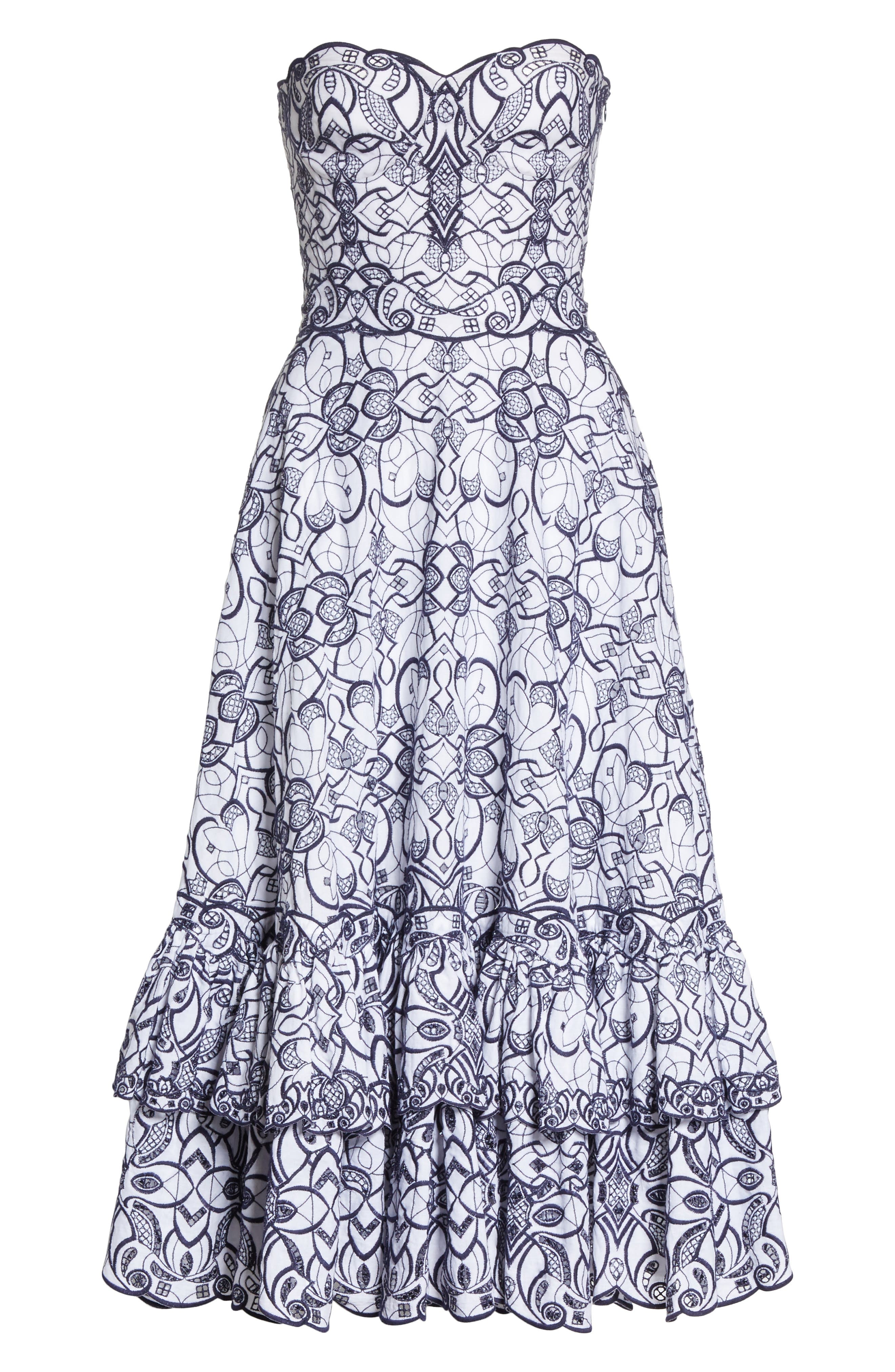 Scallop Hem Embroidered Strapless Dress,                             Alternate thumbnail 6, color,                             White/ Midnight
