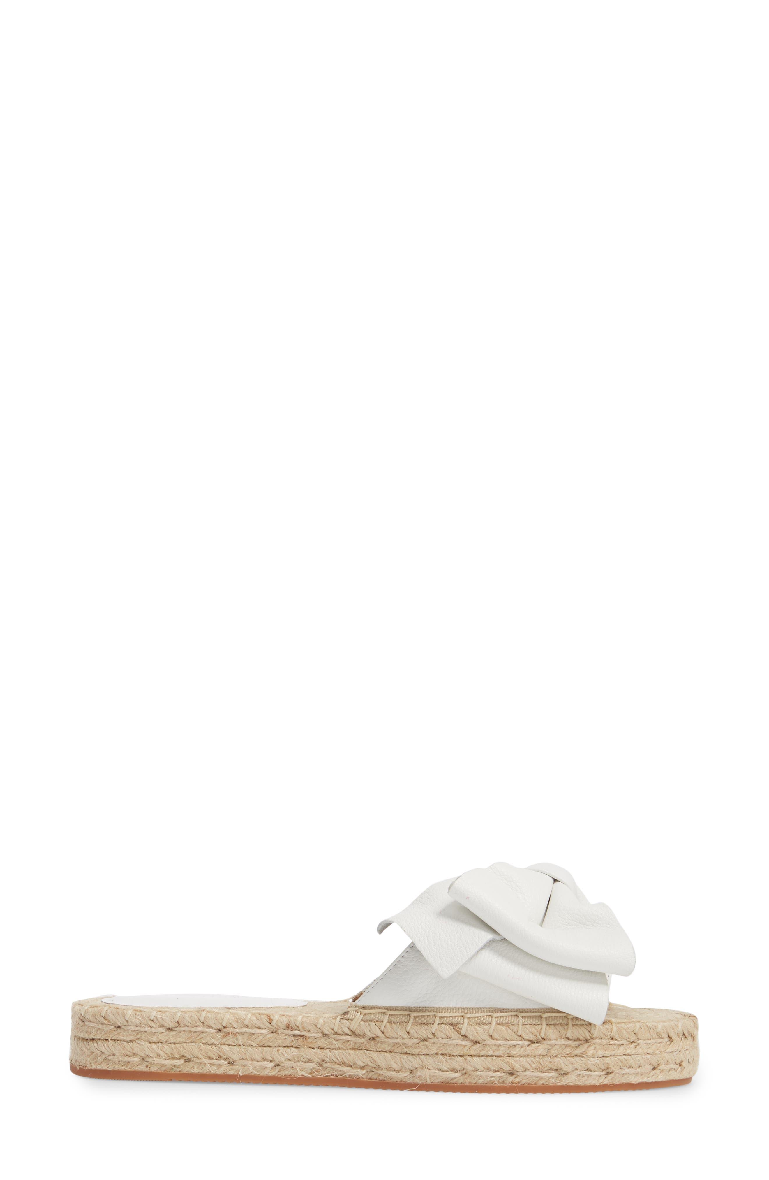Giana Bow Slide Sandal,                             Alternate thumbnail 3, color,                             Optic White Leather